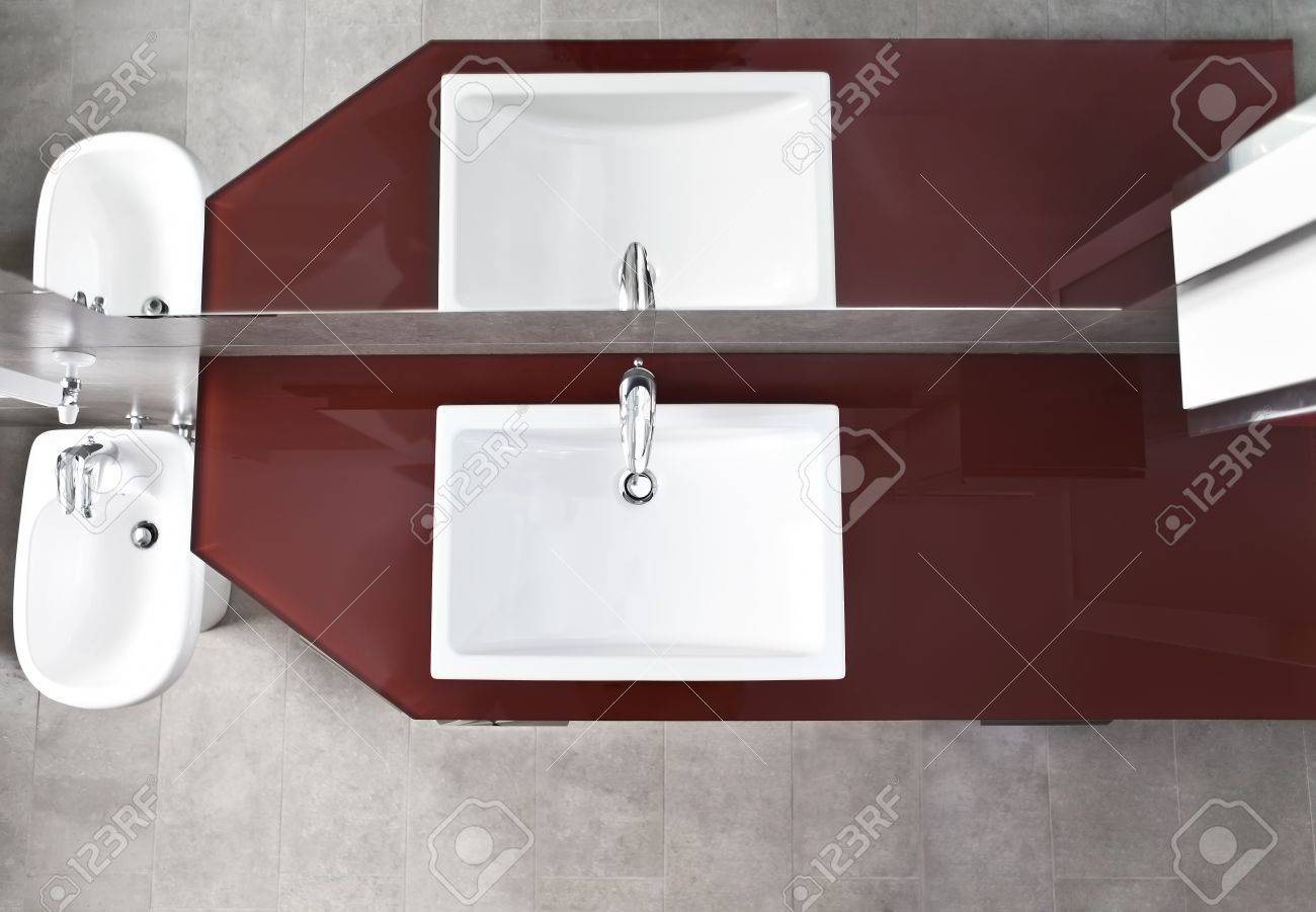 Bathroom Sink, Bidet And Mirror Reflection From Above Stock Photo ...