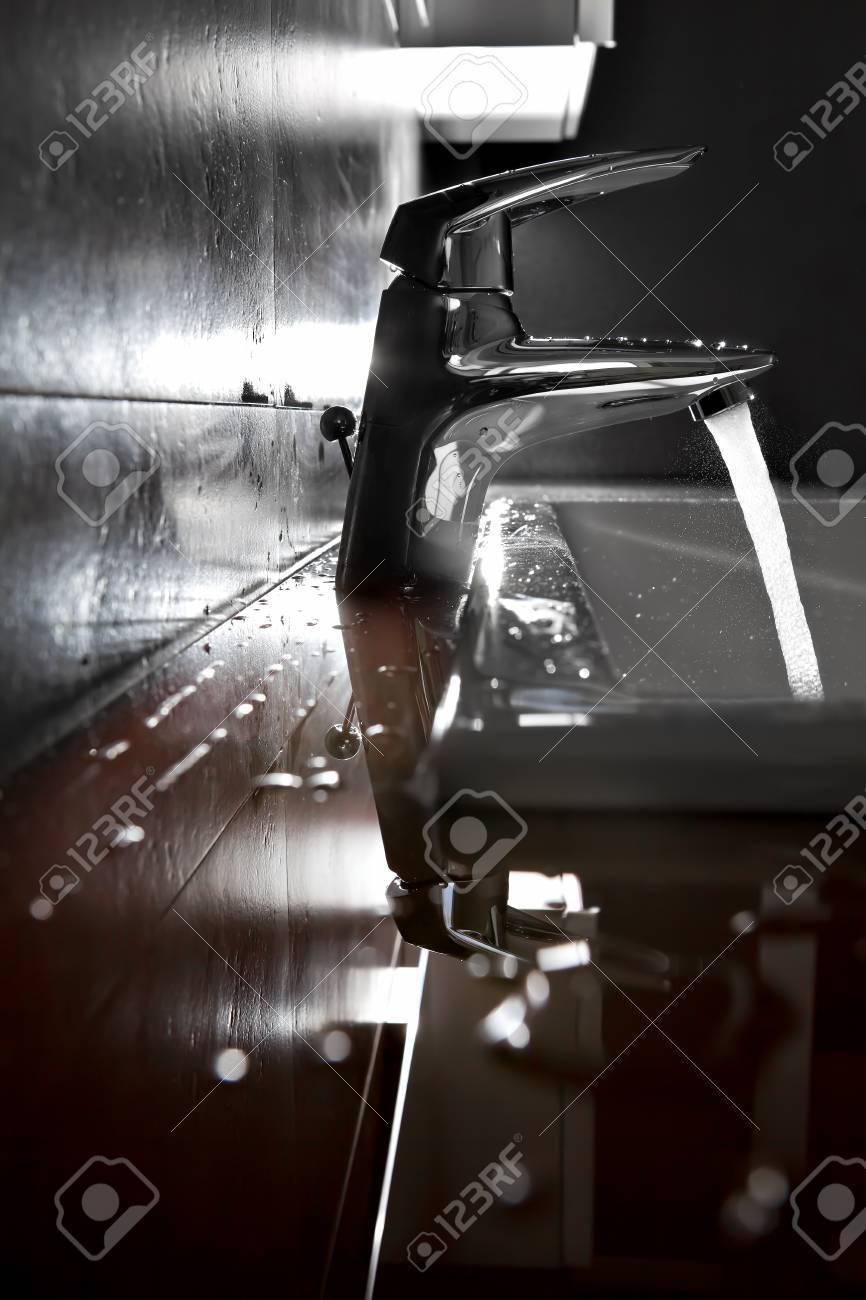 Bathroom sink silhouette lighted by backlight Stock Photo - 16317374
