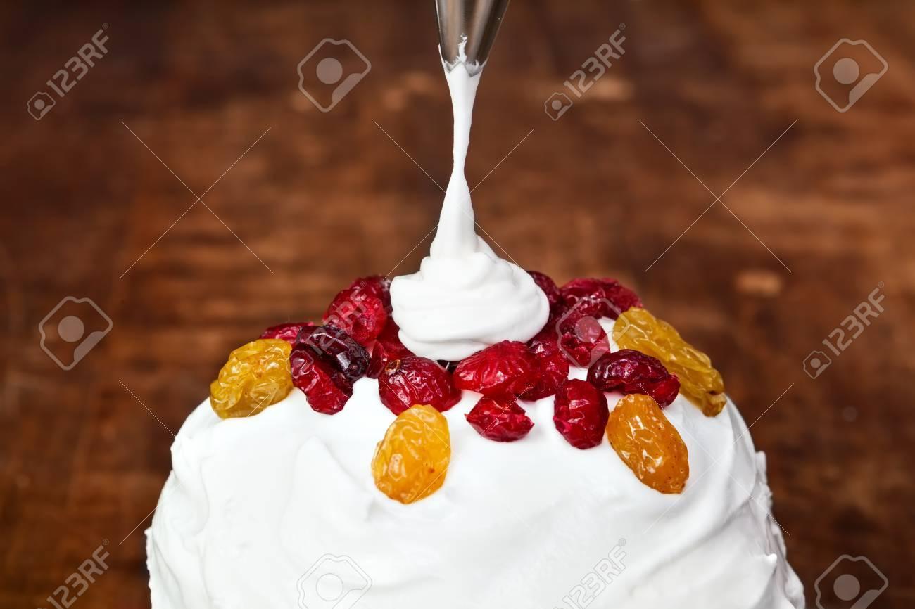 Weihnachten Cremige Kuchen Dekoration Mit Spritzbeutel Lizenzfreie