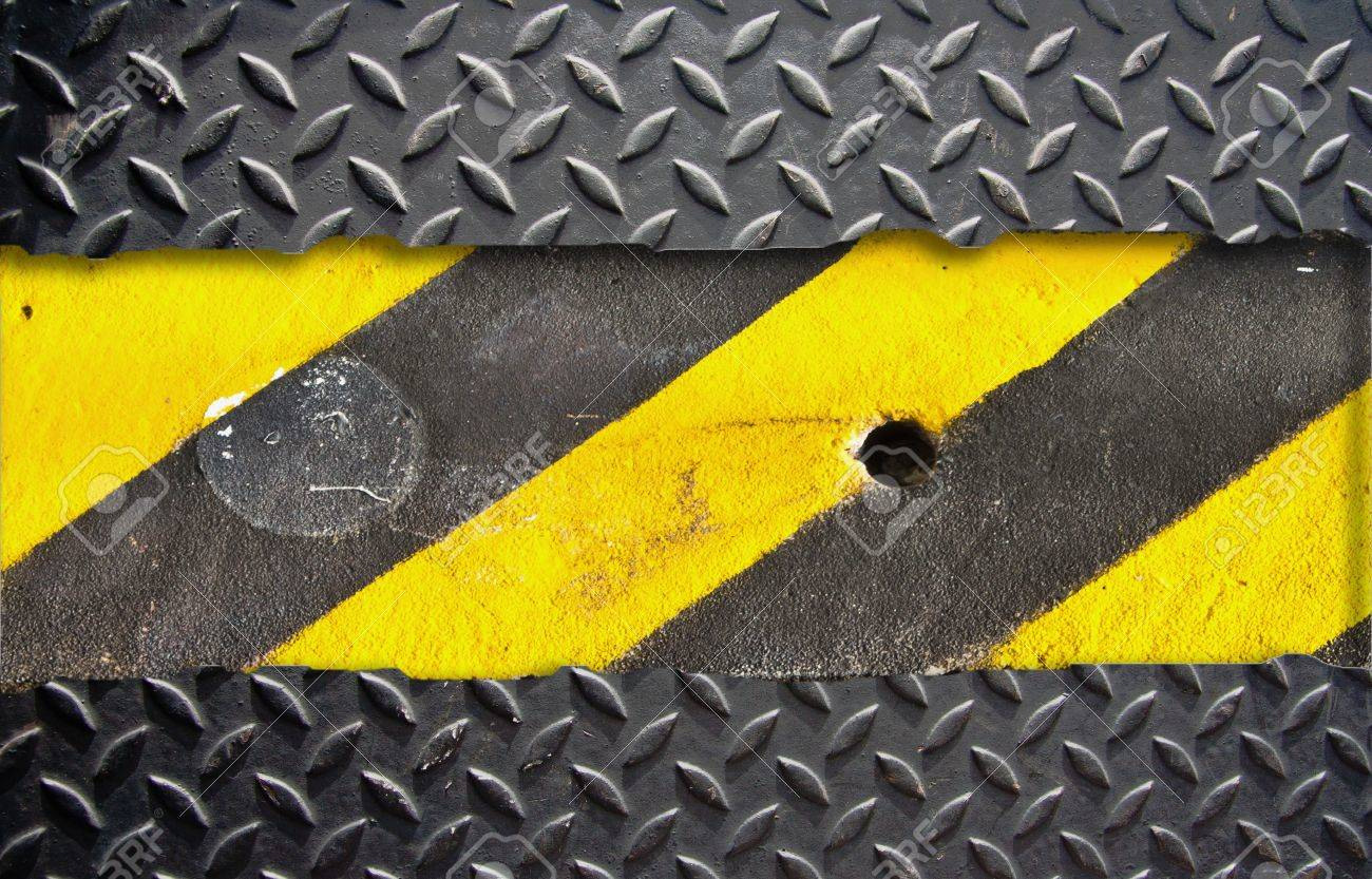 Metal plate pattern with warning strip. Stock Photo - 9228577