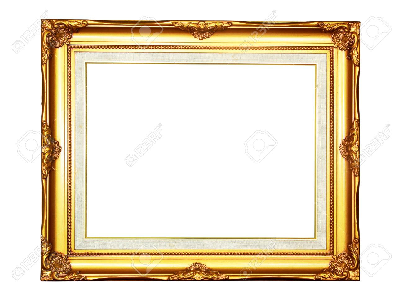 Vintage Gold Wood Photo Frame On White Background Stock Photo ...