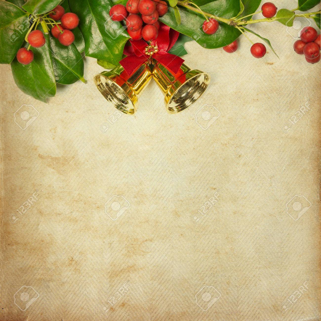 Holly Christmas Decoration Retro Card On Vintage Paper Background