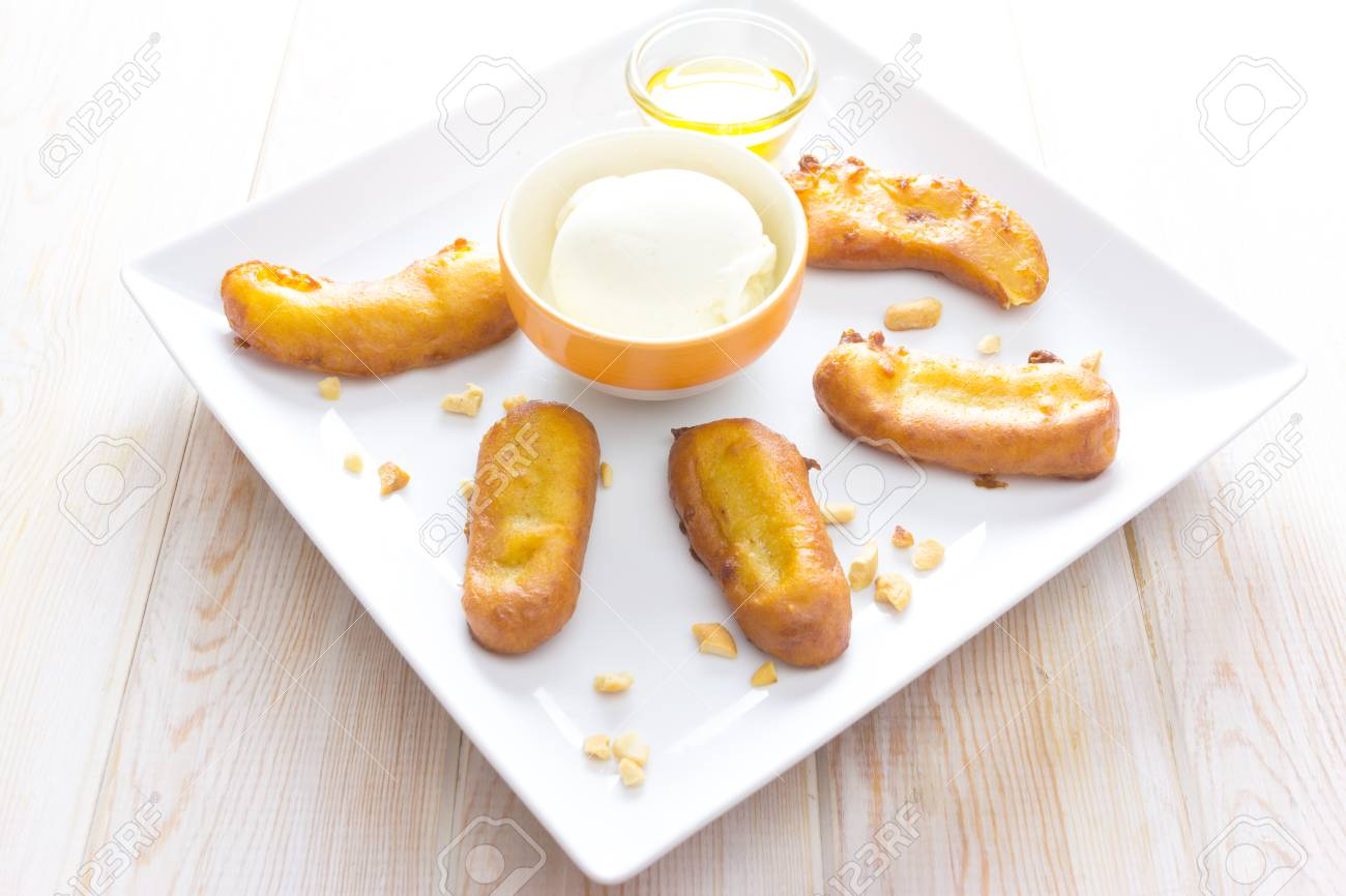 Fried Banana Fritters With Ice Cream Stock Photo Picture And Royalty Free Image Image 31902626