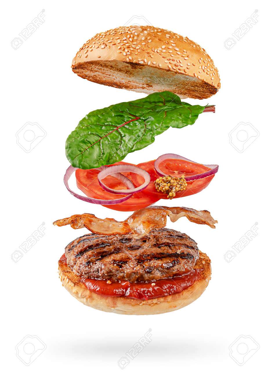 Flying hamburger with clipping path isolated on white background. Fast food - 159725702