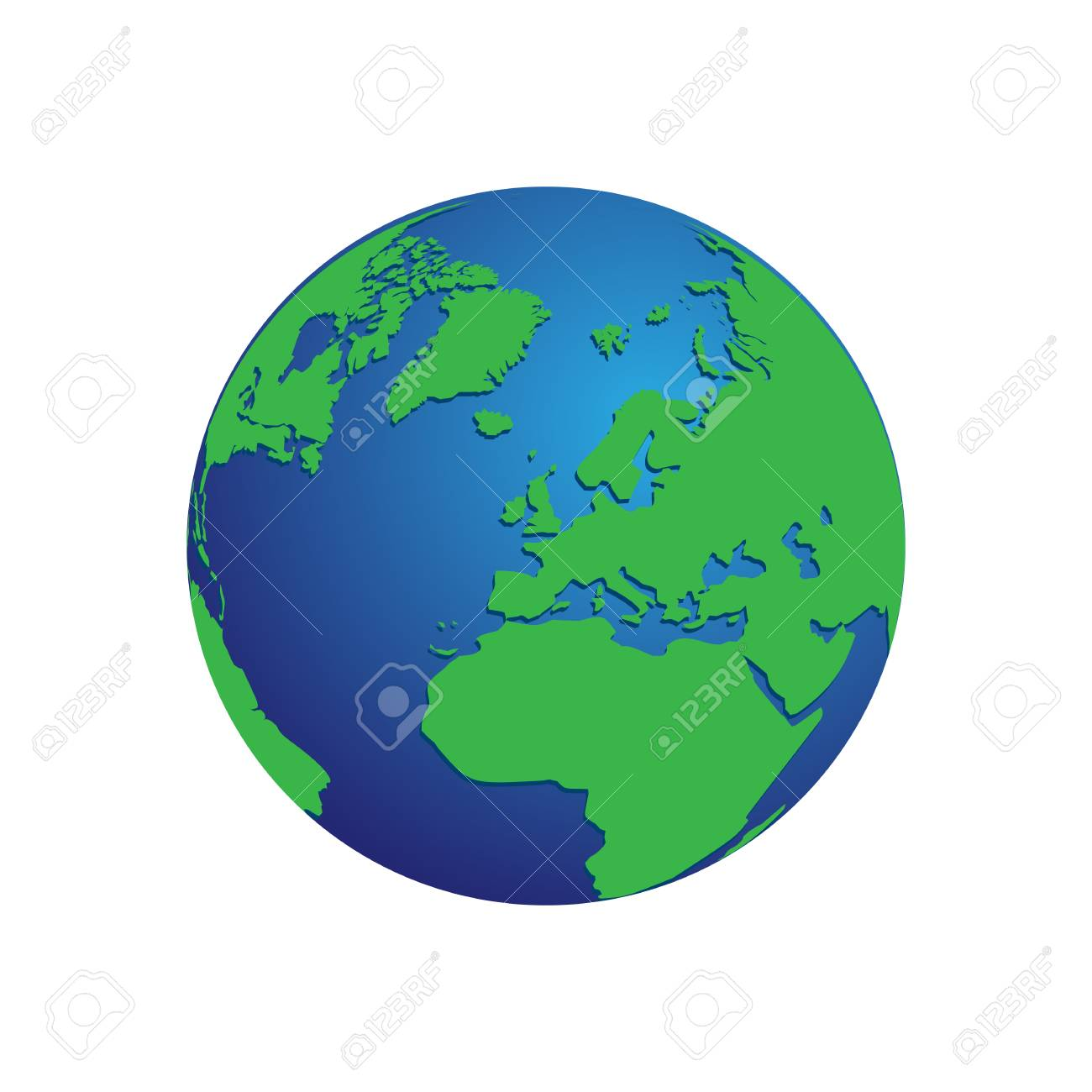 Realistic Blue And Green 3d World Map Globe Isolated Background
