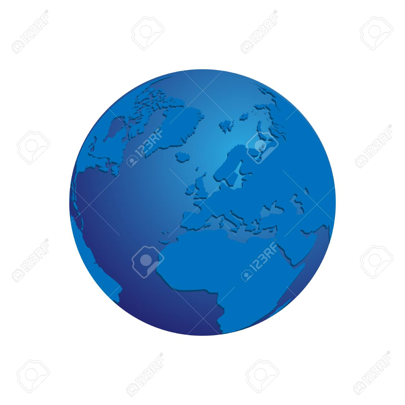 Realistic Green 3d World Map Globe Isolated Background Vector