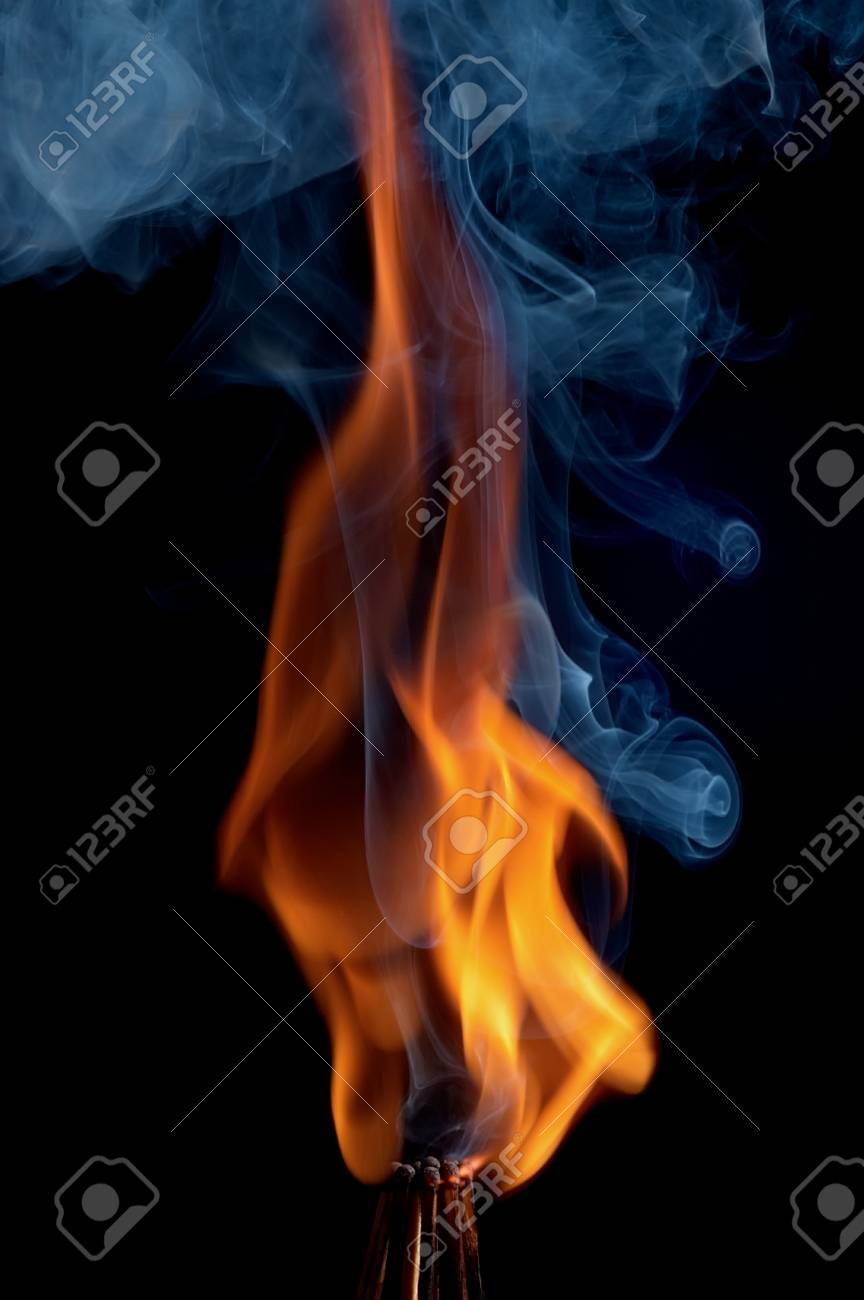 Burning matchstick on black background Stock Photo - 13298686