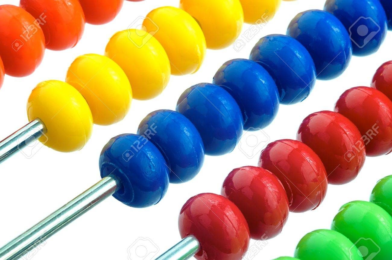 Abacus of many colorful beads on white background Stock Photo - 27113533