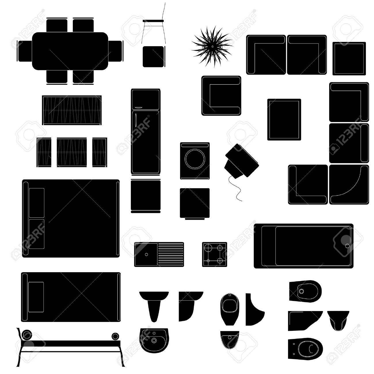 Single bedroom top view - Single Bed Top View Vector House Vector Design Elements