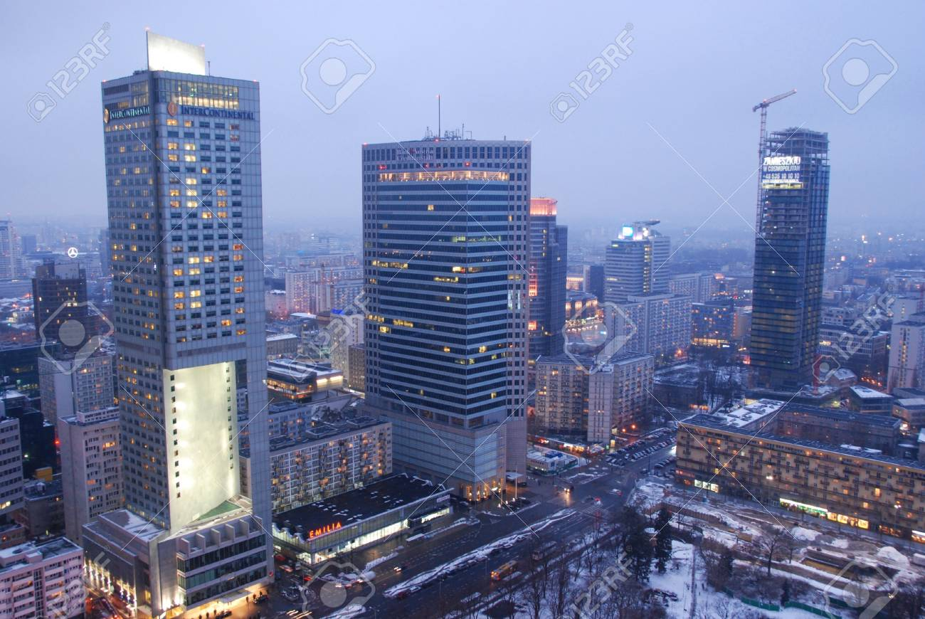 Warsaw City, Poland - February 16, 2013 - Skyscrapers in Warsaw Stock Photo - 18114773