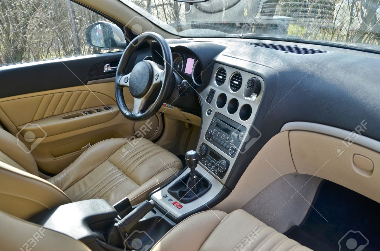 Stock Photo - This is a view of luxury car Alfa Romeo 159 interior details.  February 28, 2015. Lublin, Poland.