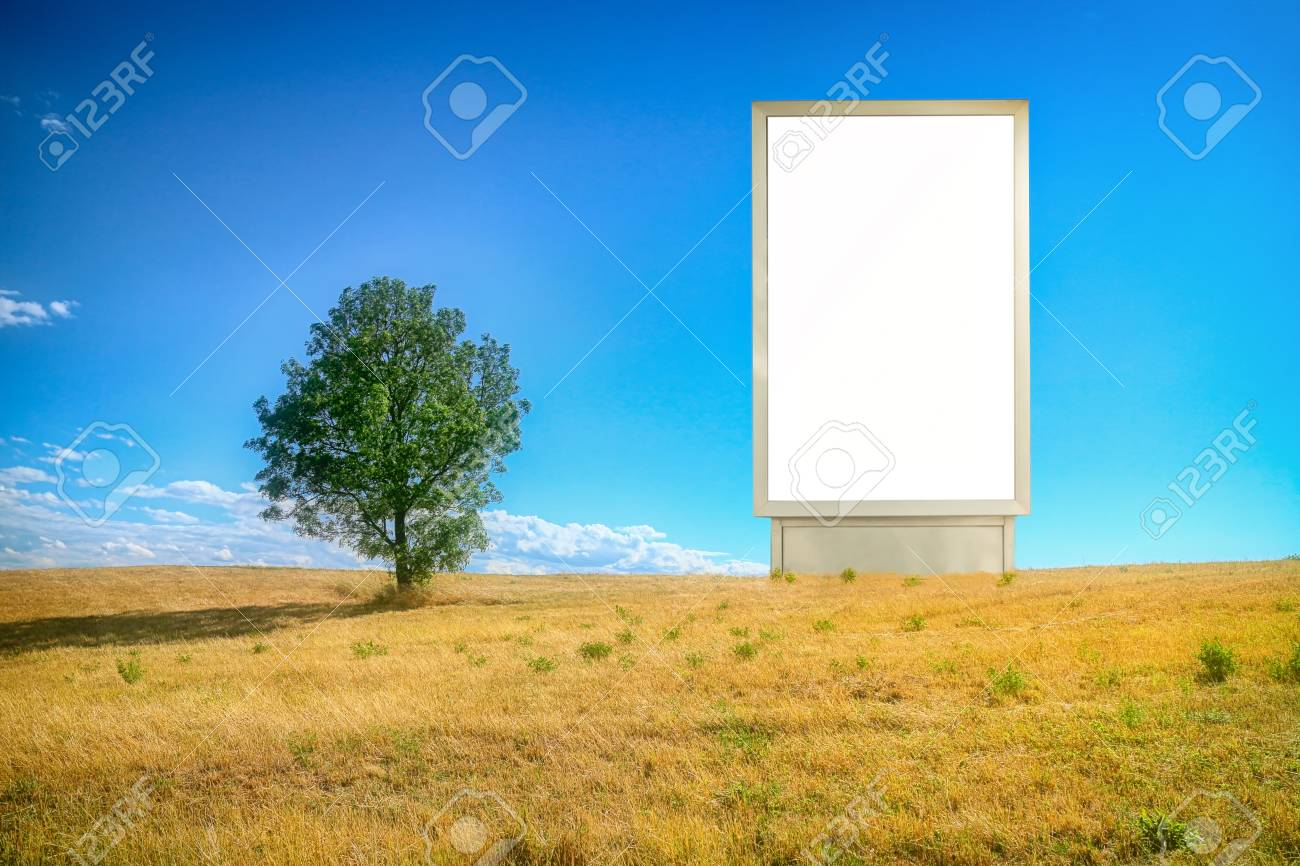 Mock up, Billboard on a Grass-hay field, Isolated white Ad Advertisement,