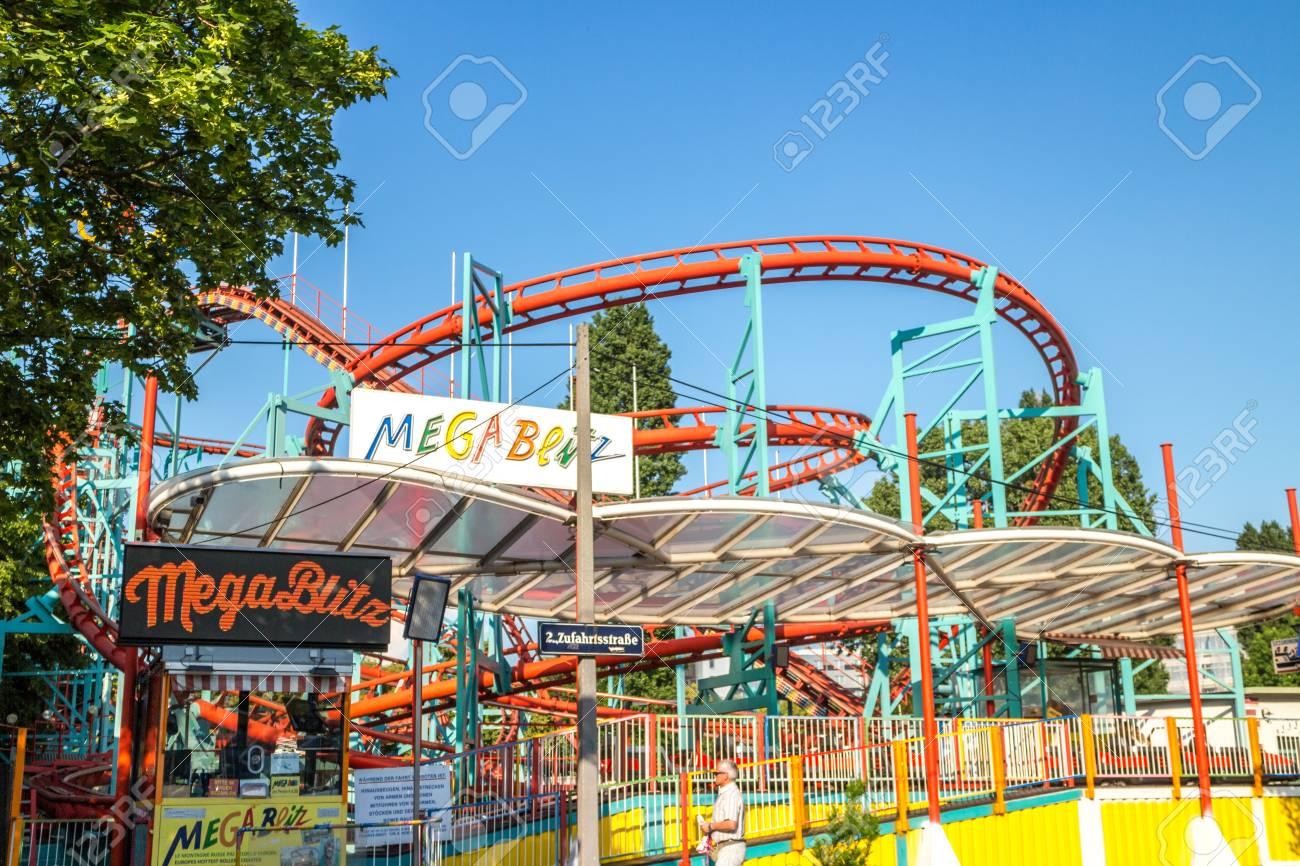 Vienna Austria May.26 2018, empty Mega Blitz roller coaster - 102920030