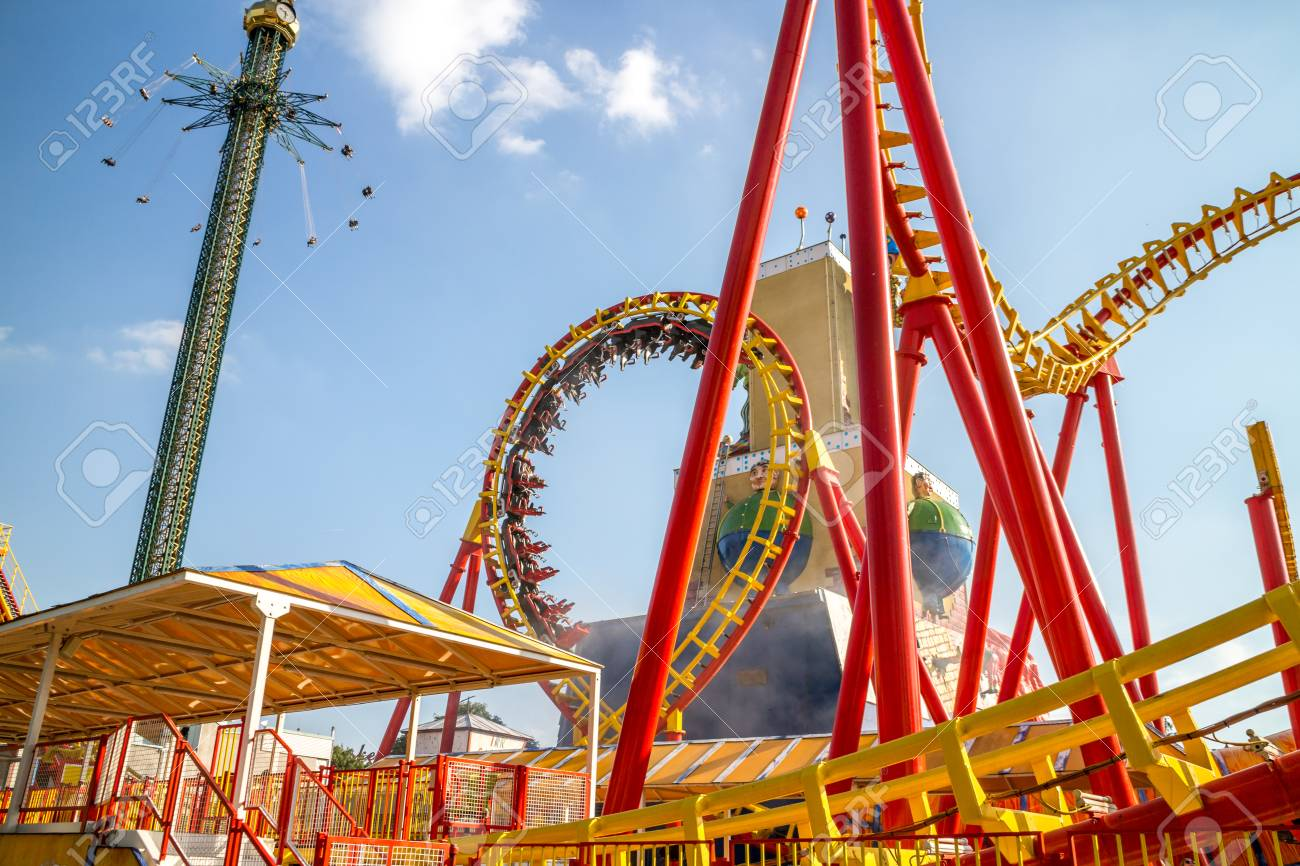 Vienna Austria May.26 2018, People riding in roller coaster - 102919557