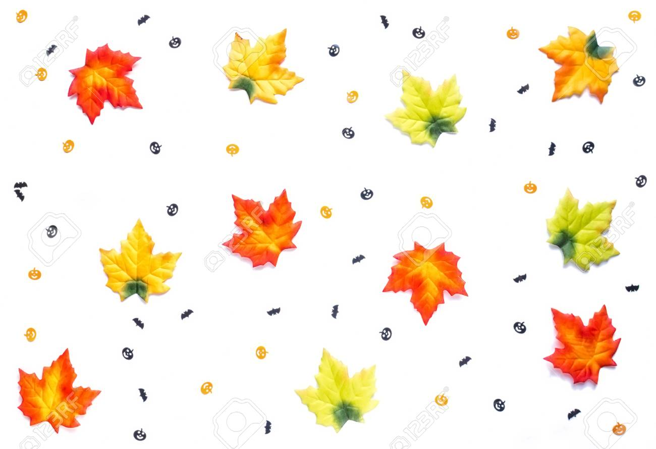 - Autumn Leaves And Small Pumpkin And Bats Cut Outs Decoration