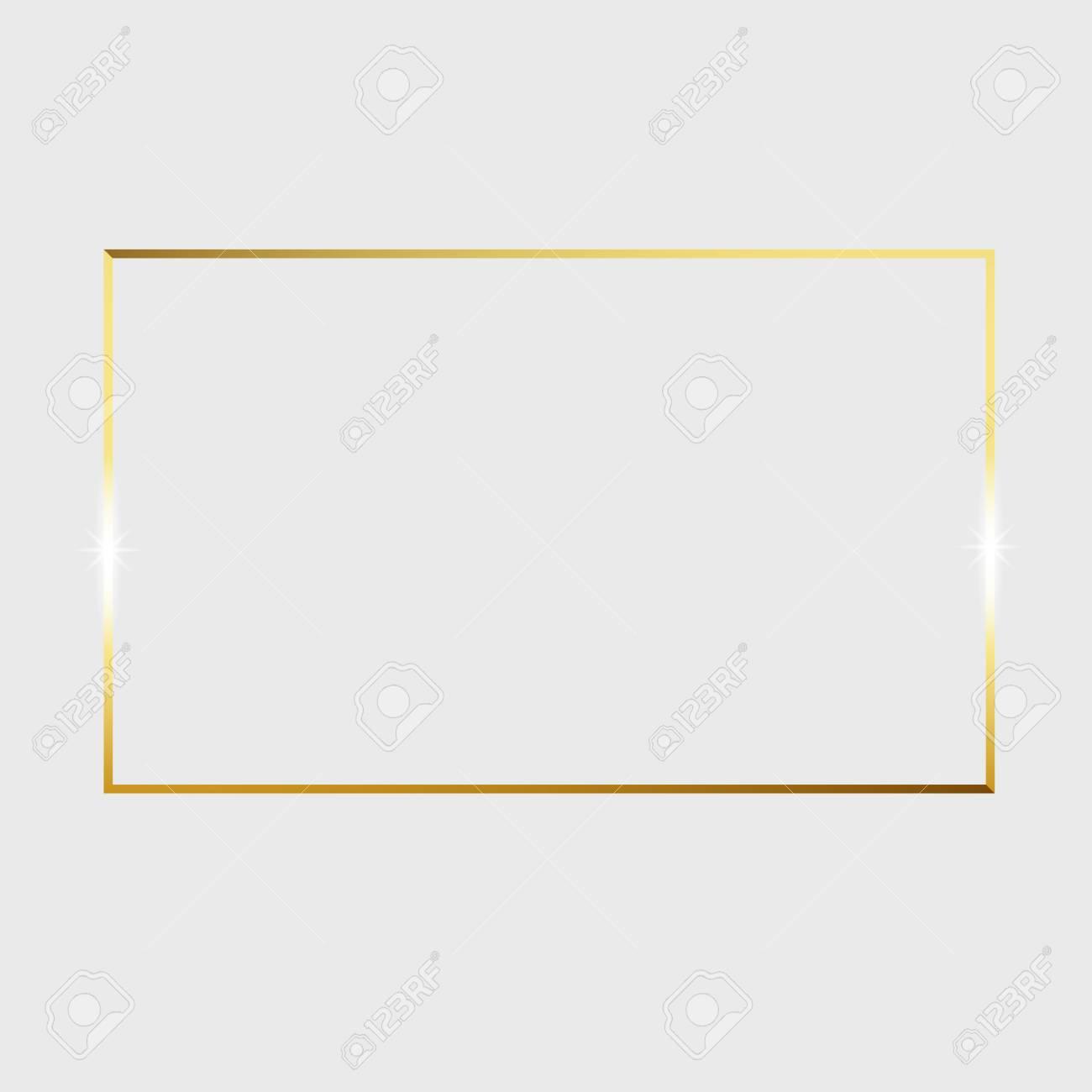 Gold shiny glowing vintage frame isolated on transparent background. Vector border illustration engraved ink art. - 118465270