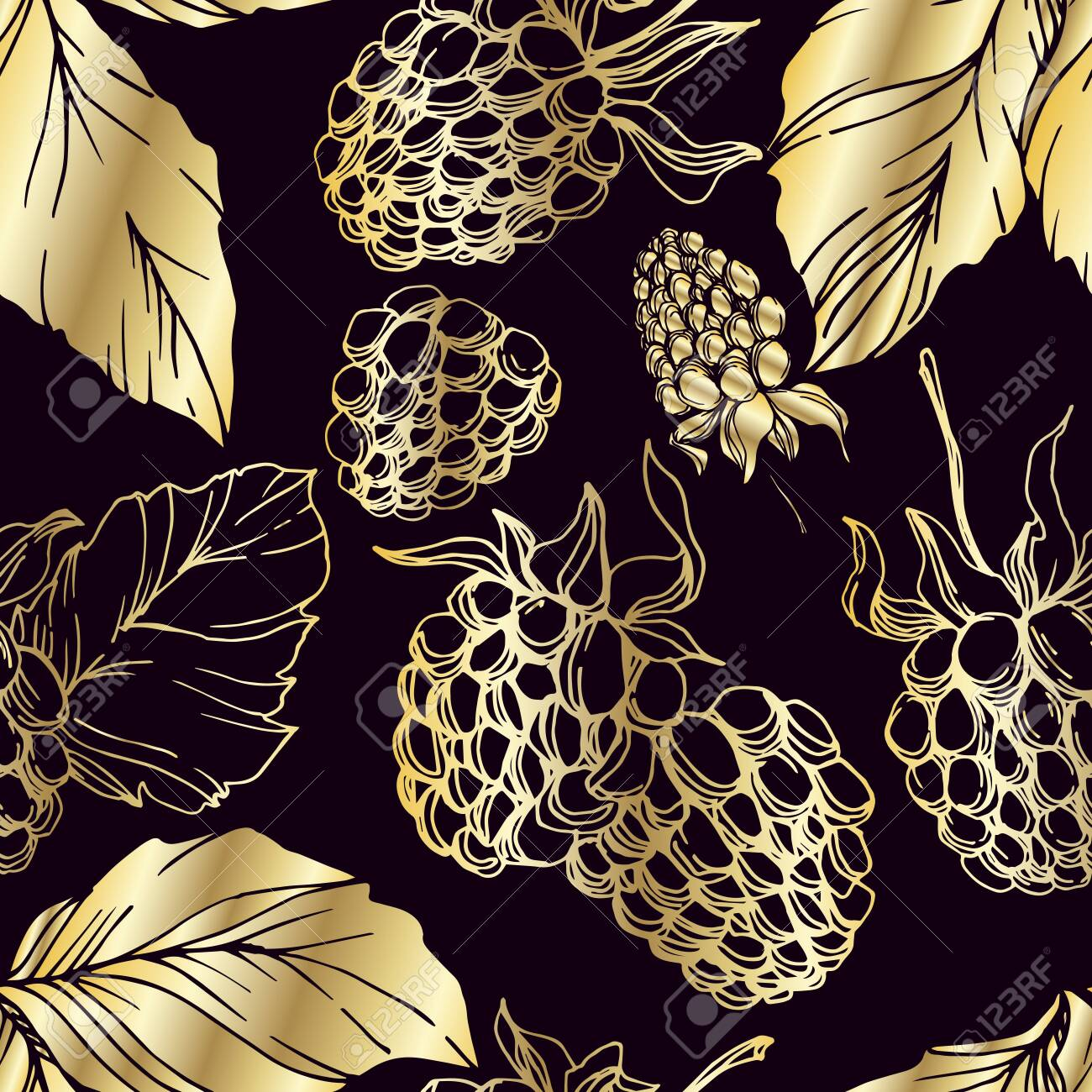 Vector Blackberry healthy food. Black and white engraved ink art. Seamless background pattern. - 129980233