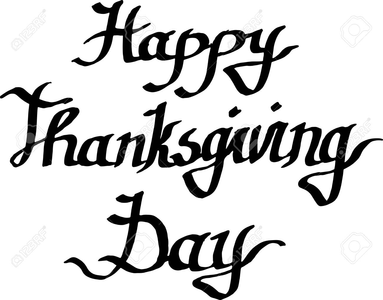 Vector Happy thanksgiving day handwriting monogram calligraphy. Black and white engraved ink art isolated. - 131240387