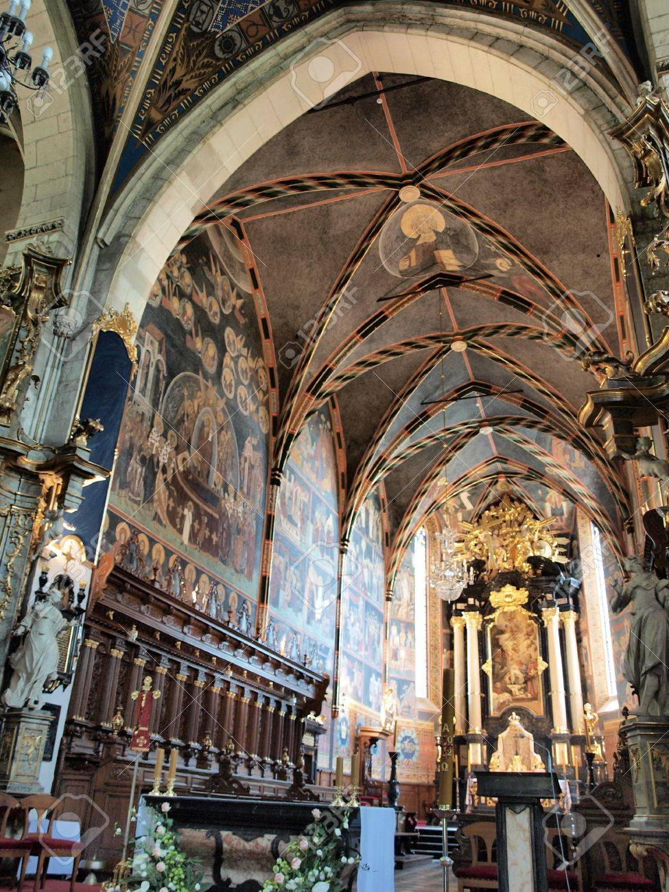 he interior of the Cathedral of the Nativity of the Blessed Virgin Mary with precious Byzantine-Russian style polychrome, Sandomierz, Poland Stock Photo - 13669773