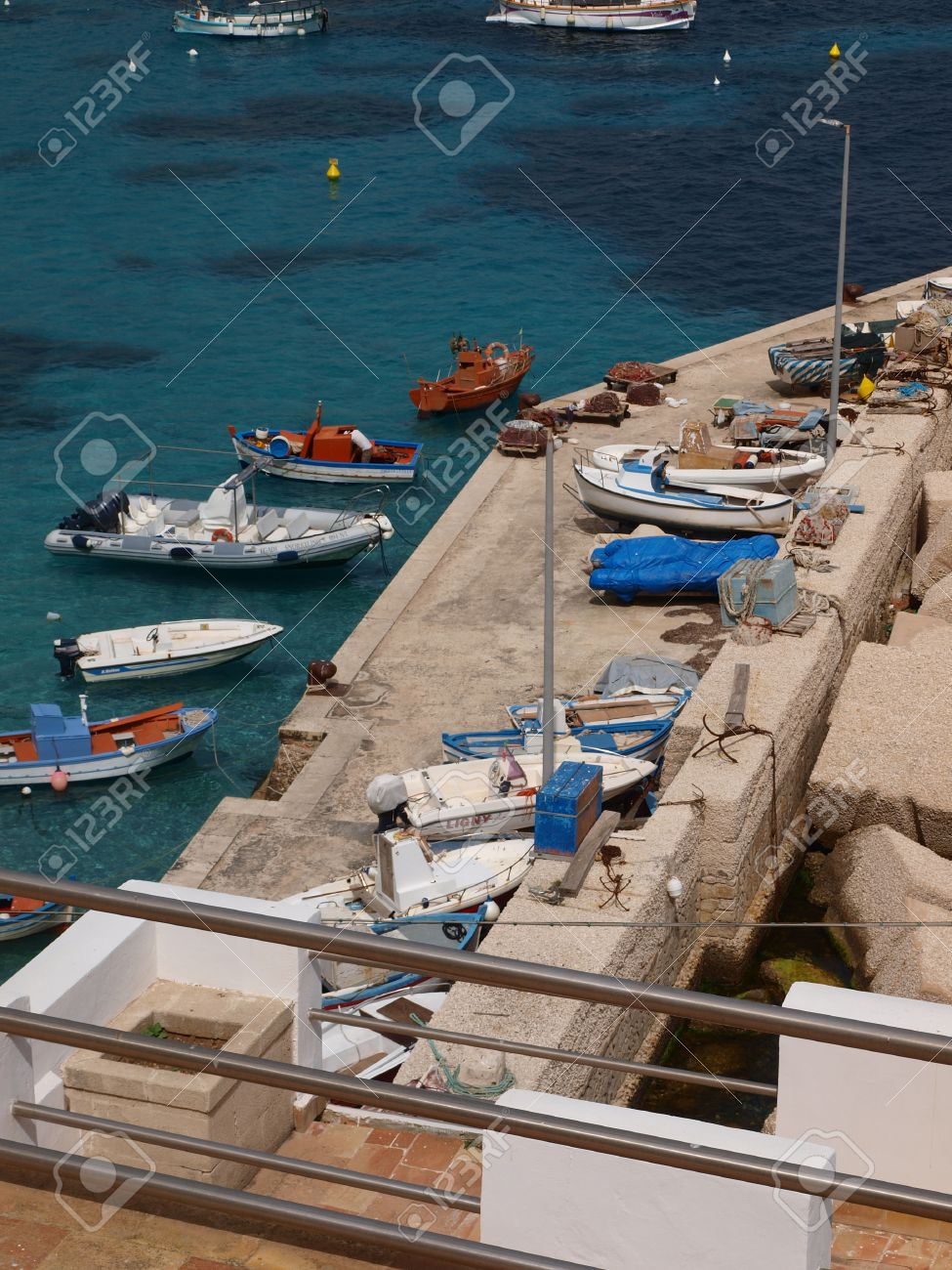 Boats In Levanzo Port Isle Of Levanzo Sicily Italy Stock Photo