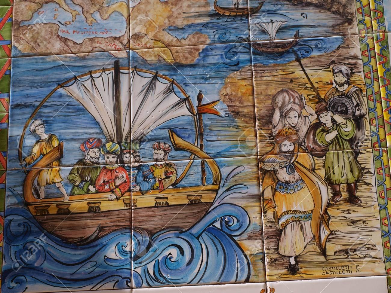 Sicilian History On Ceramic Tiles, Mazara Del Vallo, Sicily,.. Stock ...