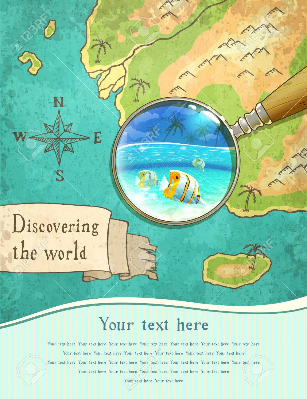 Magnifier showing beautiful nature on the old map vector magnifier showing beautiful nature on the old map vector illustration stock vector 49588173 gumiabroncs Image collections