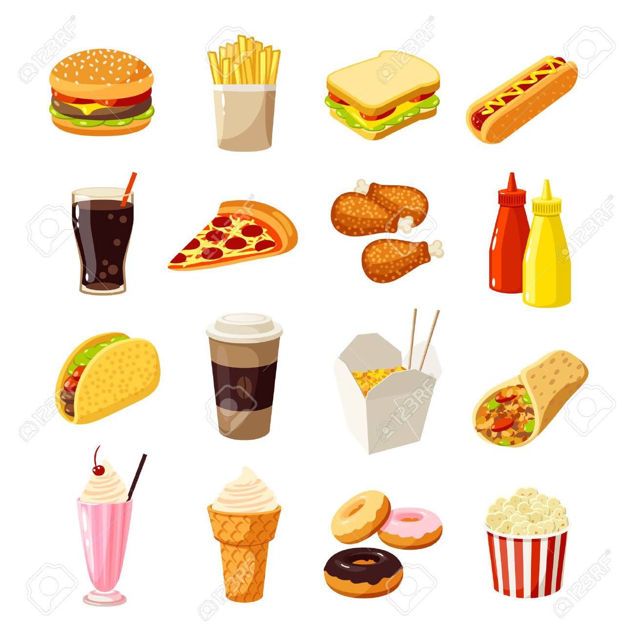 Set of cartoon fast food. Vector illustration, , isolated on white. - 53356747