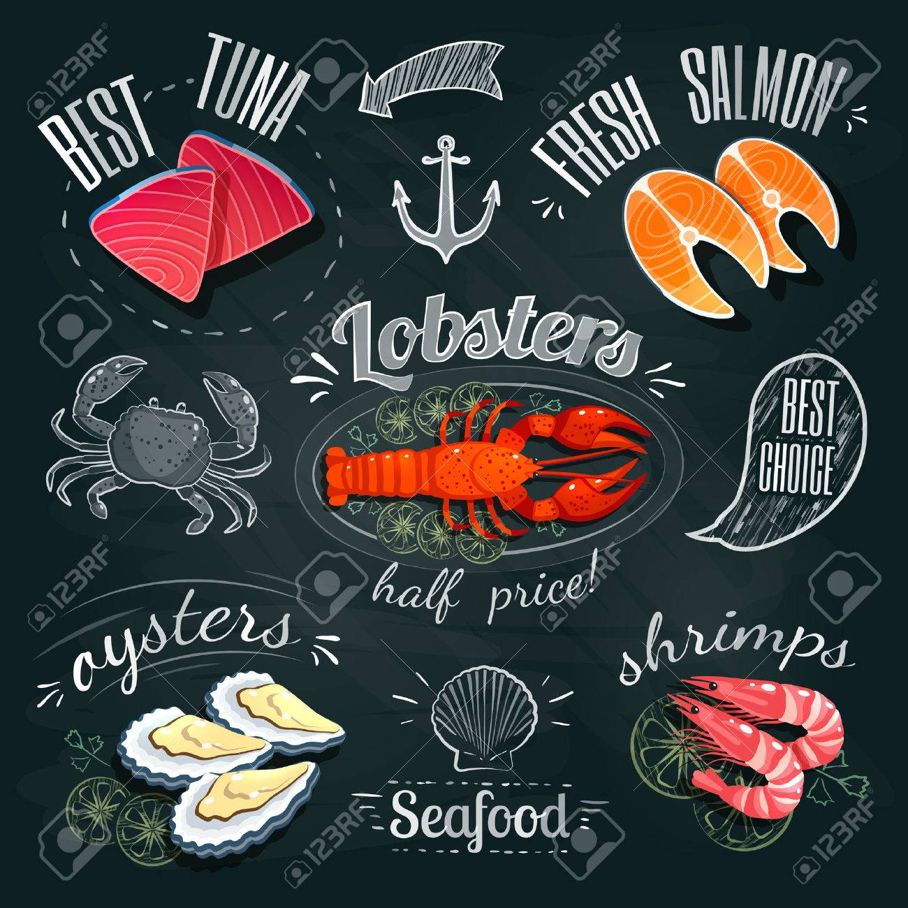 Chalkboard seafood ADs - tuna, salmon, lobster, oysters and shrimps. Vector illustration, - 53378569