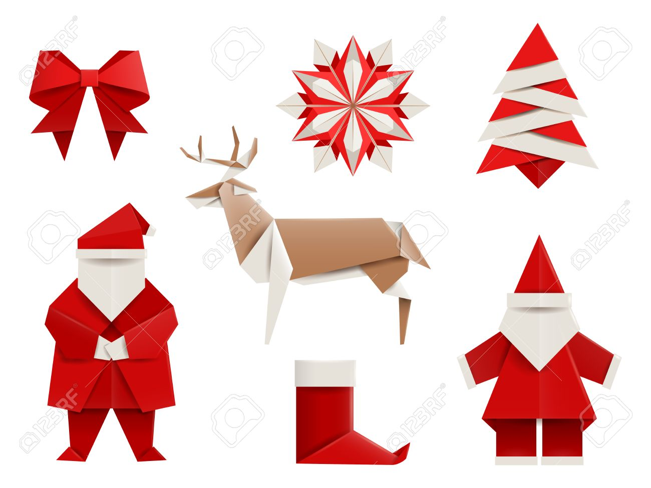 Albero Di Natale Origami.Vettoriale Origami Realistico Natale Insieme Santa Cervi Albero Di Natale Fiocchi Di Neve E Cosi Illustrazione Di Vettore Isolato Su Bianco Image 53378573