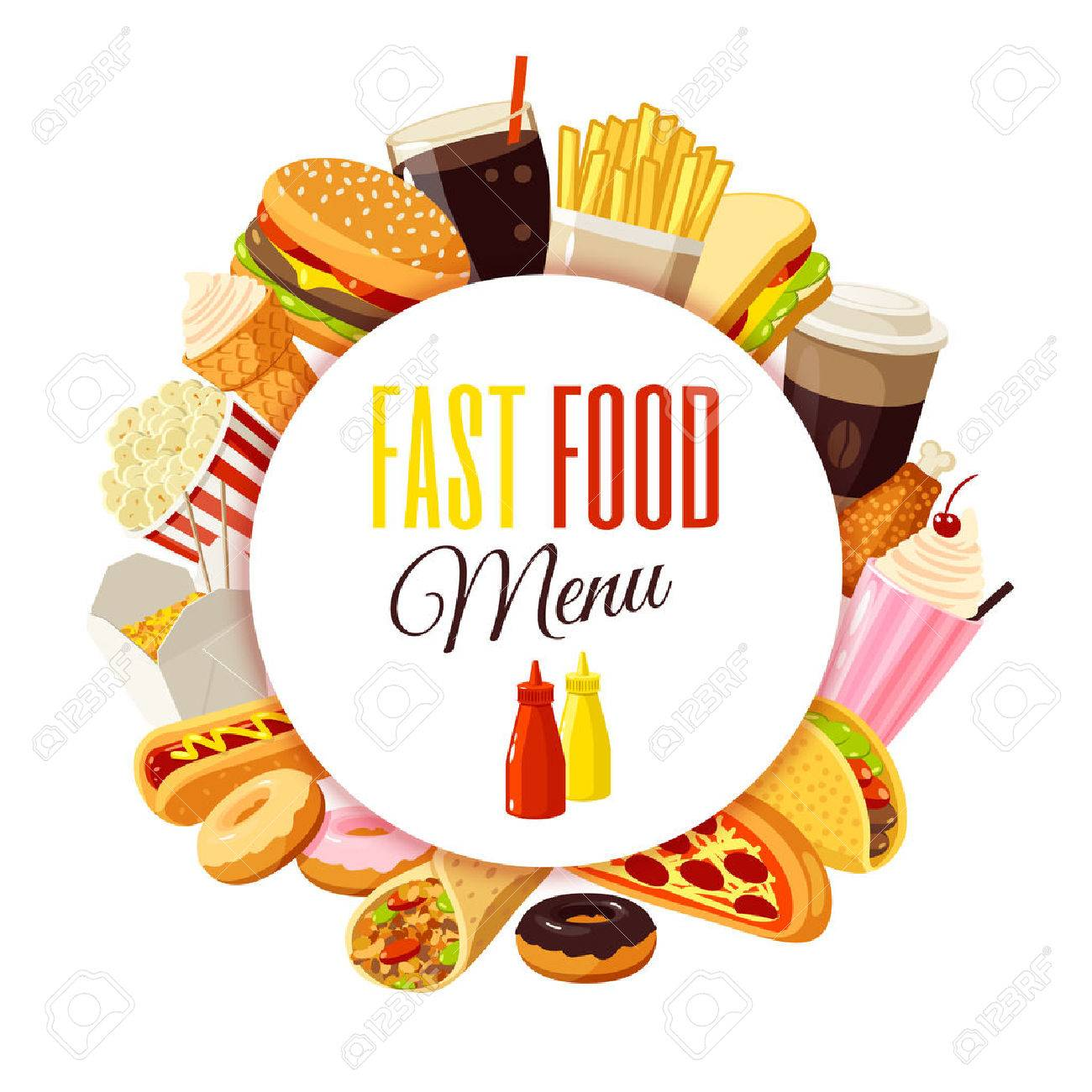 """""""Fast food menu"""" label with hamburger, french fries, coffee, sandwich, popcorn, ice cream, pizza, taco and so. Vector illustration, isolated on white, - 53378596"""