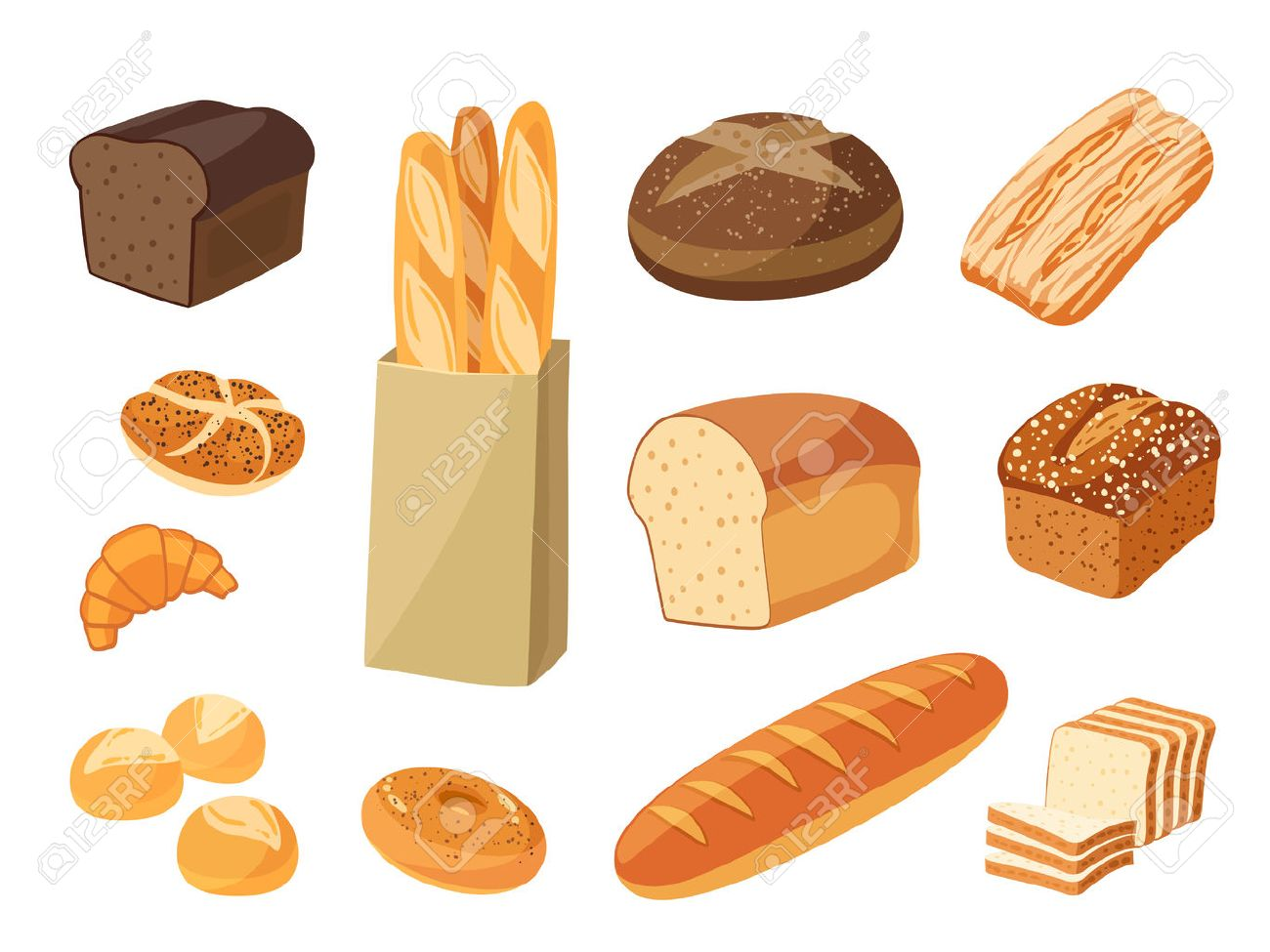 Set of cartoon food: bread - rye bread, ciabatta, wheat bread, whole grain bread, bagel, sliced bread, french baguette, croissant and so. Vector illustration, isolated on white, eps 10. - 53400061