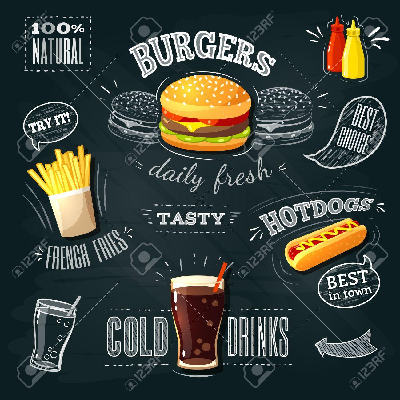 Chalkboard fastfood ADs - hamburger, french fries and hotdog. Vector illustration, - 53400069