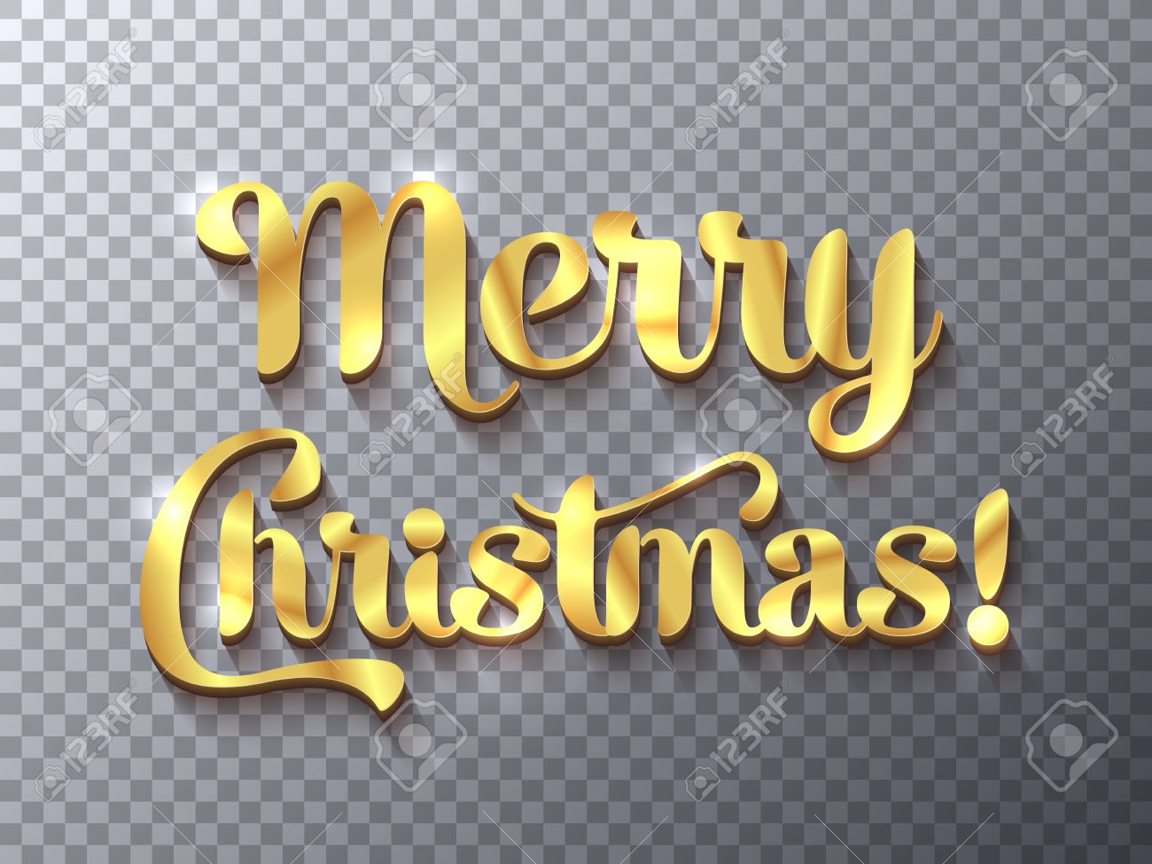 Merry Christmas Golden Sign On Transparent Background Royalty Free ...