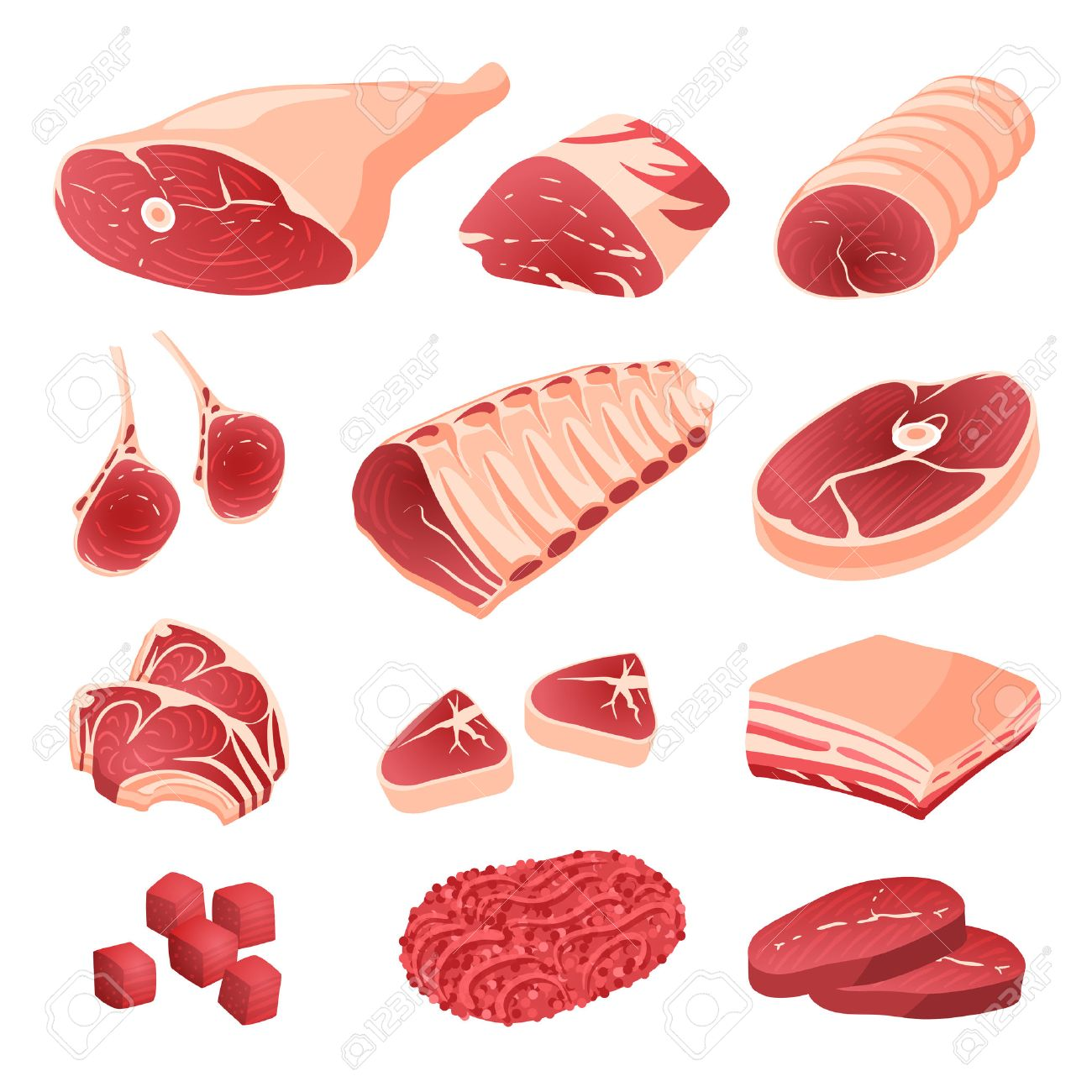 set of cartoon food meat cuts assortment beef pork lamb royalty free cliparts vectors and stock illustration image 53858117 set of cartoon food meat cuts assortment beef pork lamb