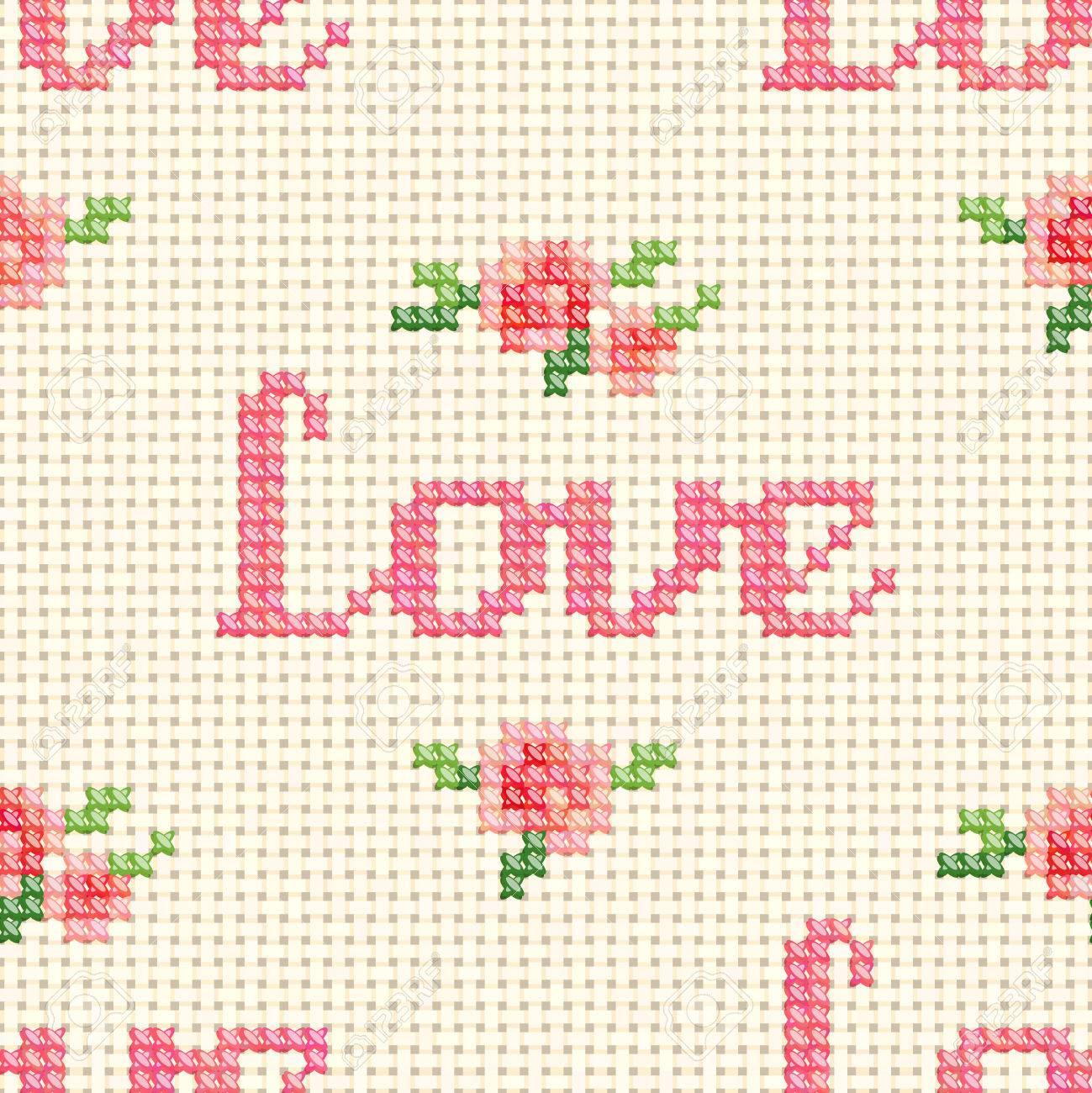 Sin Fisuras Patrón De Punto De Cruz Con \'Amor\' Y Rosas De Color Rosa ...