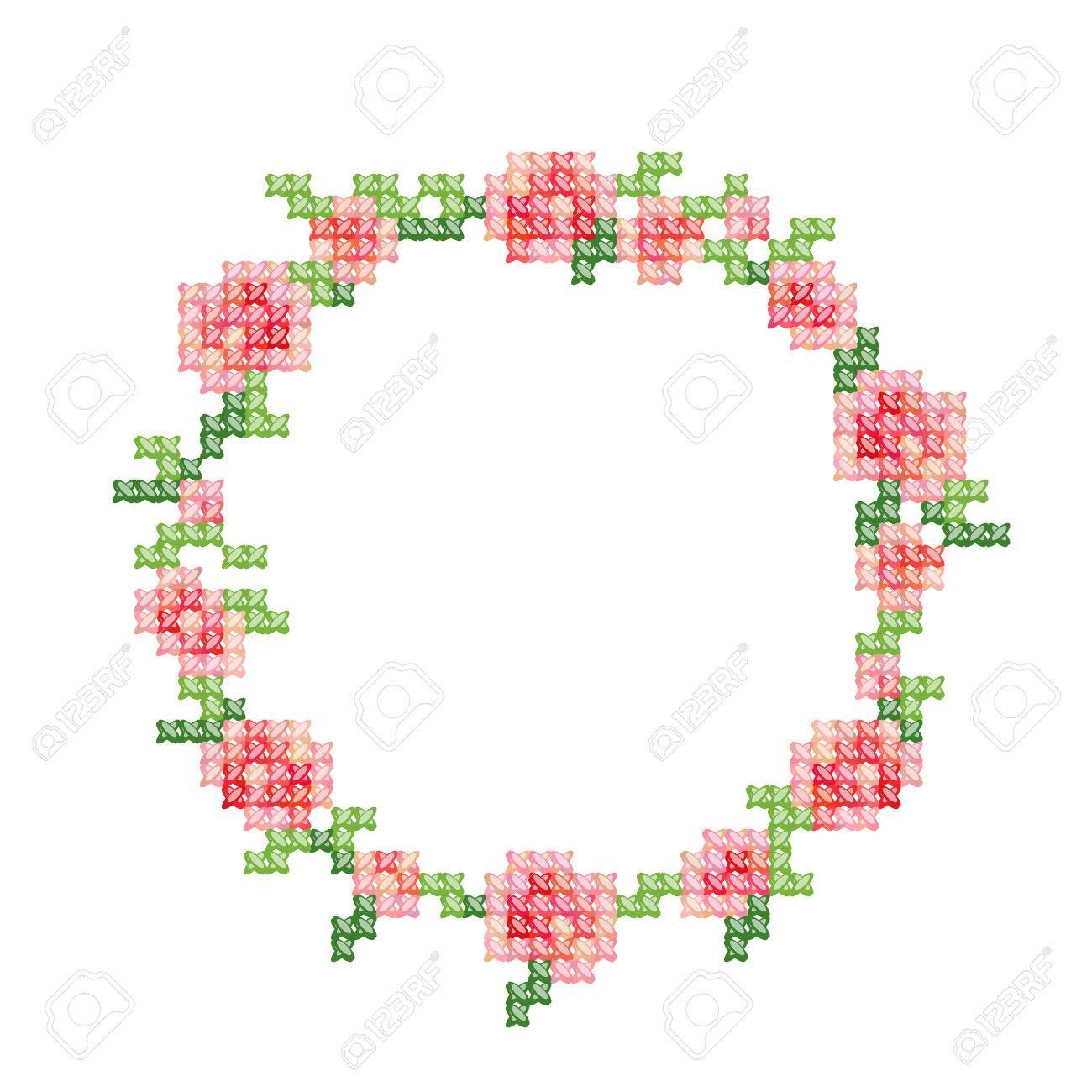 Bordado De Punto De Cruz, Vendimia Labró El Marco Floral Con Rosas ...