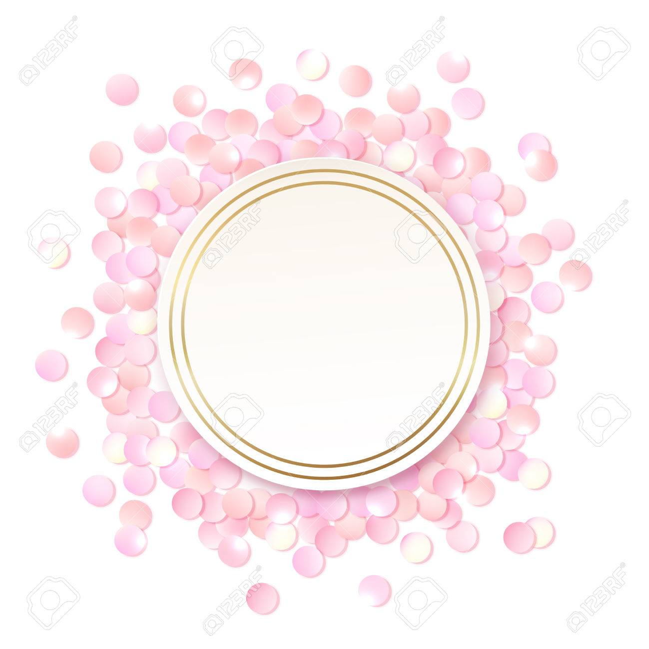 Pink realistic round confetti frame design template for gift pink realistic round confetti frame design template for gift certificate voucher ad yadclub Images