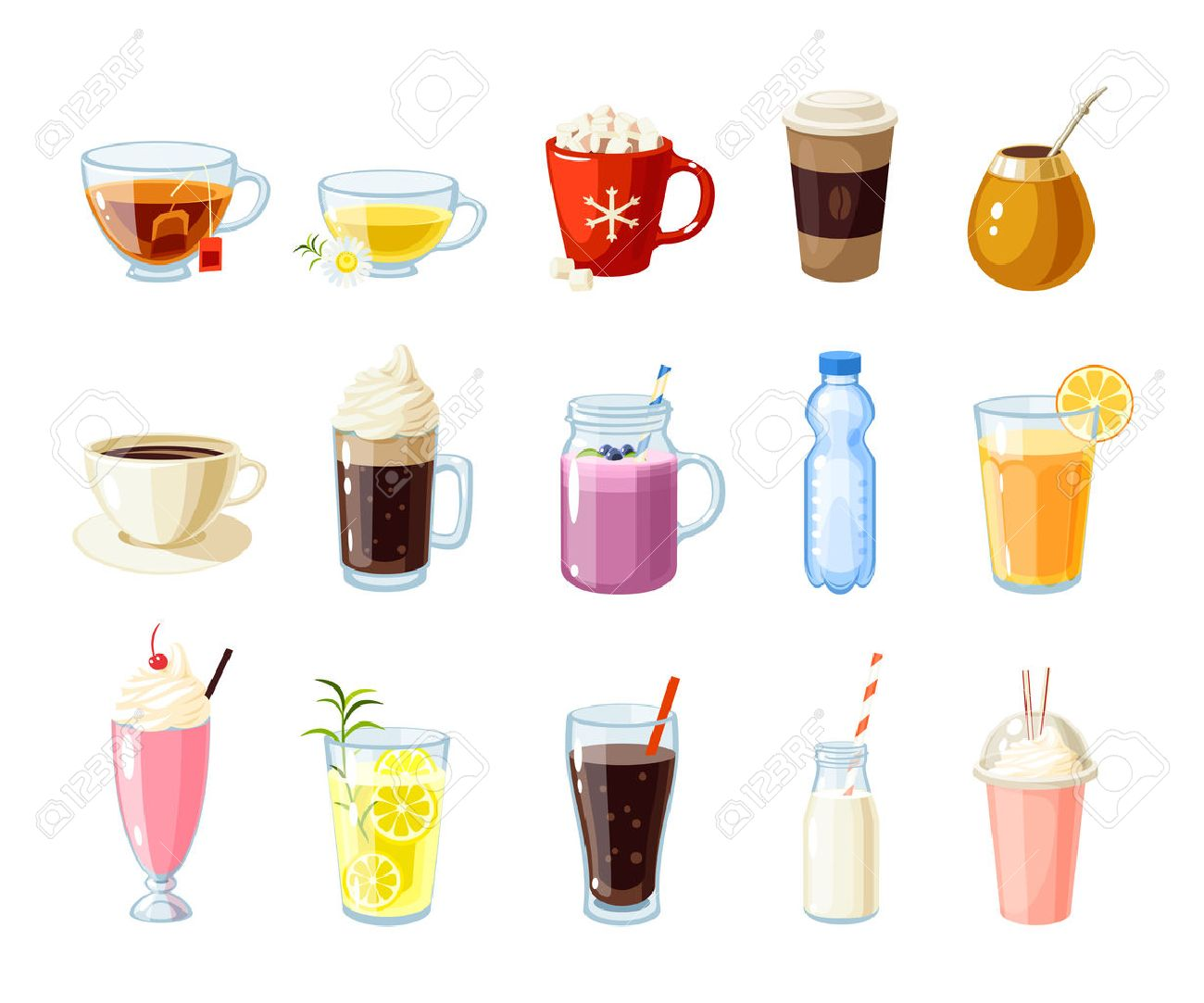 Set of cartoon food: non-alcoholic beverages - tea, herbal tea, hot chocolate, latte, mate, coffee, root beer, smoothie, juice, milk shake, lemonade and so. Vector illustration, isolated on white. - 56918911