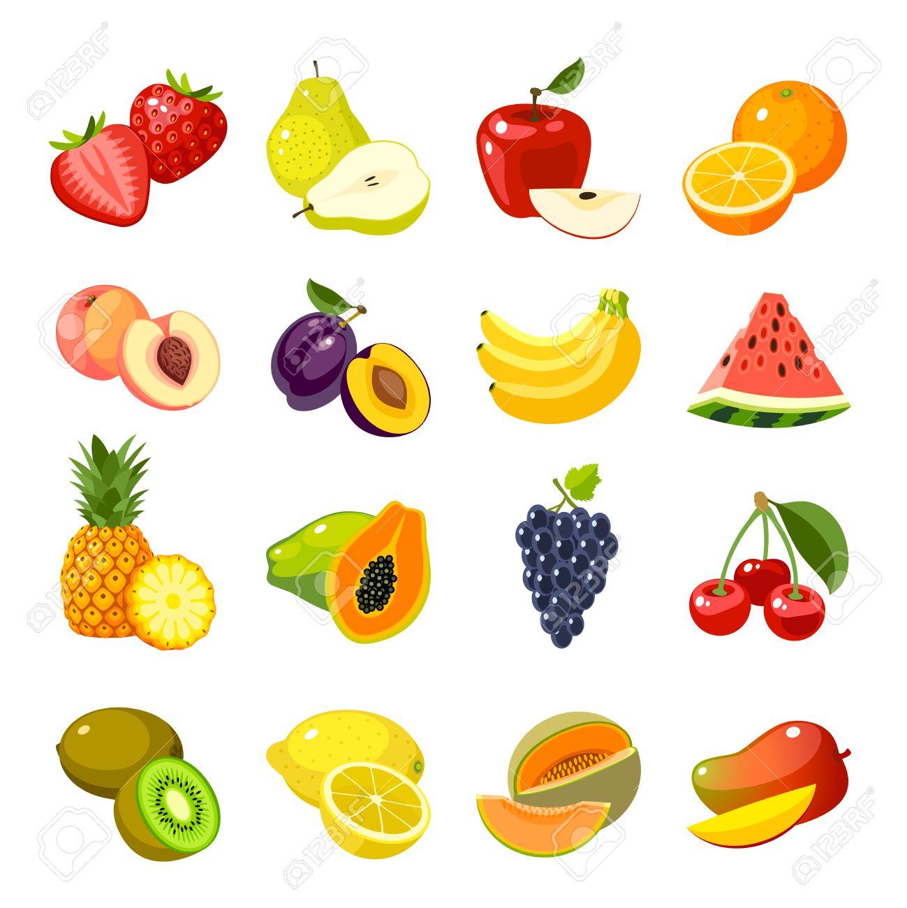 Ensemble De Fruits Icones De Dessin Anime Colore Fraise Icone