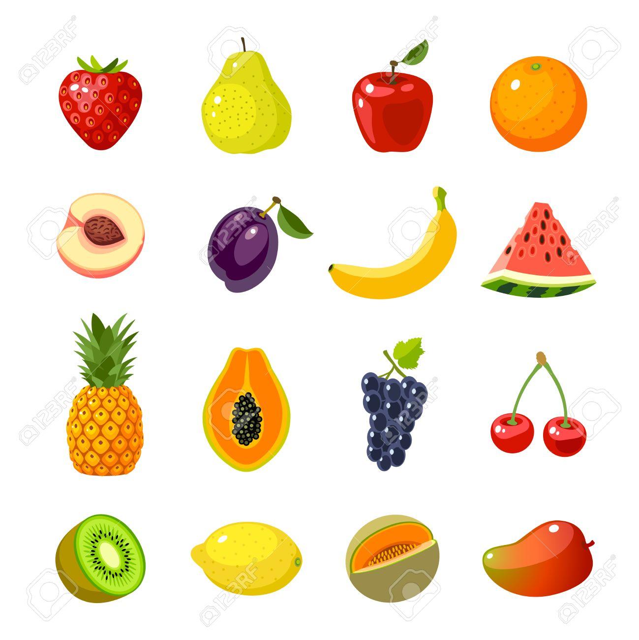 Conjunto De Iconos Coloridos Dibujos De Frutas Manzana Pera Fresa
