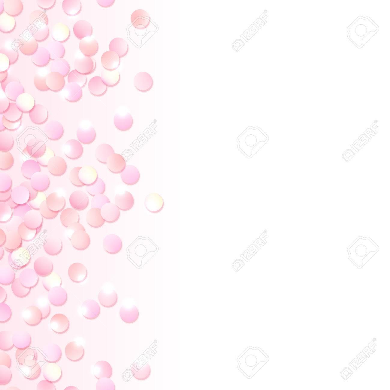 Nahtlose Grenze Der Rosa Realistische Konfetti, Design-Vorlage Für ...