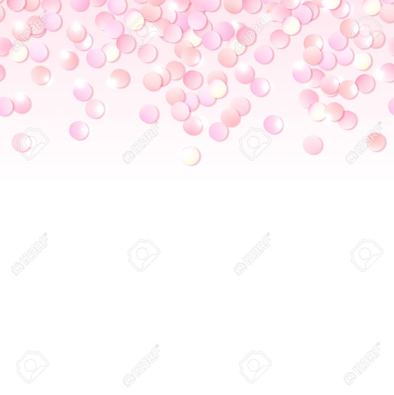 Seamless Border Of Pink Realistic Confetti, Design Template For ...