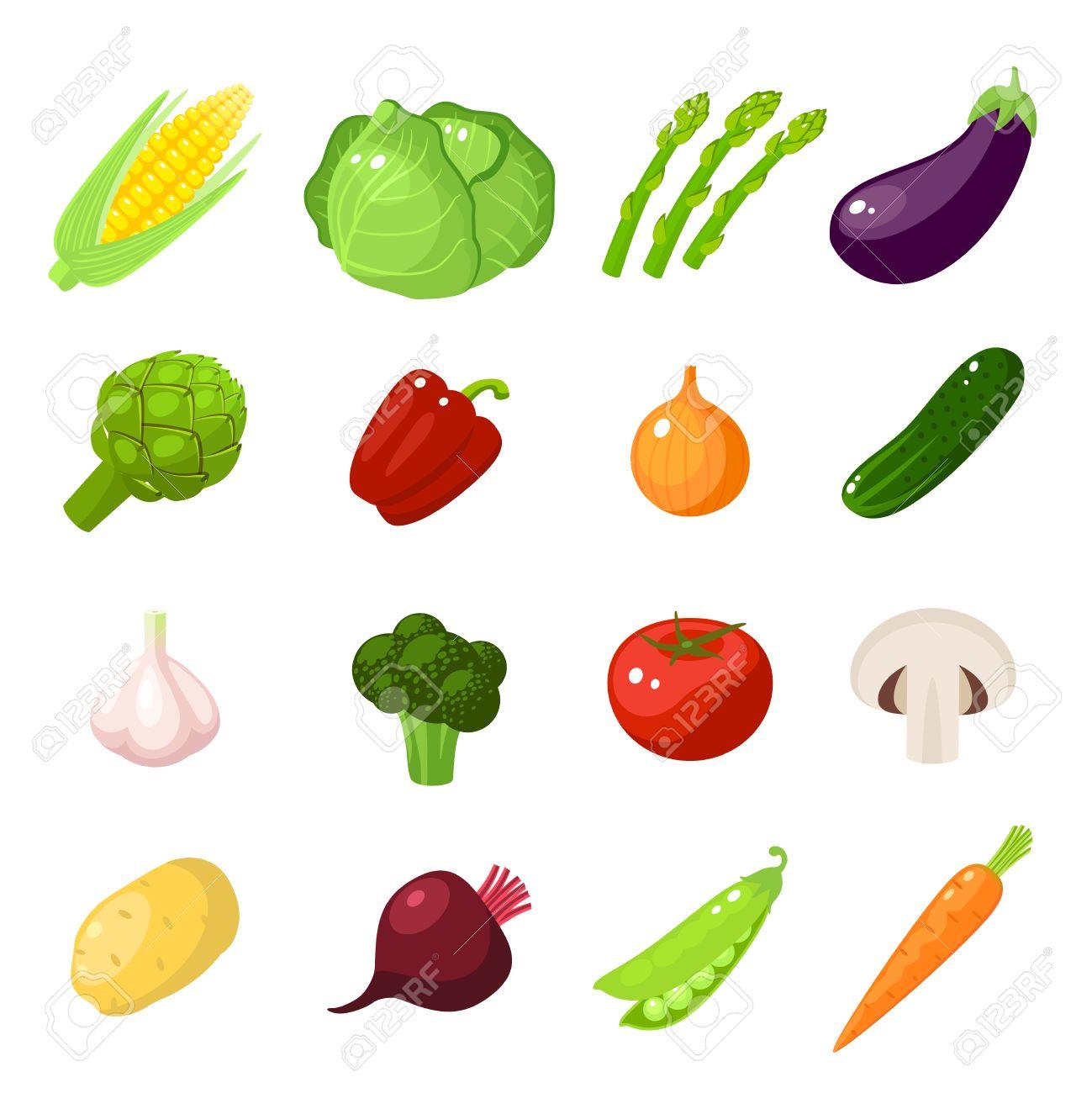Conjunto De Alimentos De Dibujos Animados Verduras Maíz Repollo Espárragos Berenjena Zanahoria Pimiento Cebolla Pepino Ajo Brócoli