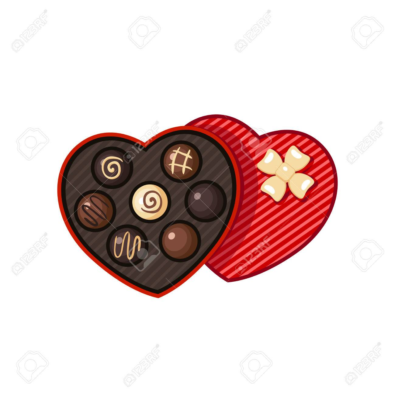 Heart Shaped Valentine Day Candy Box With Chocolate Bon Bons