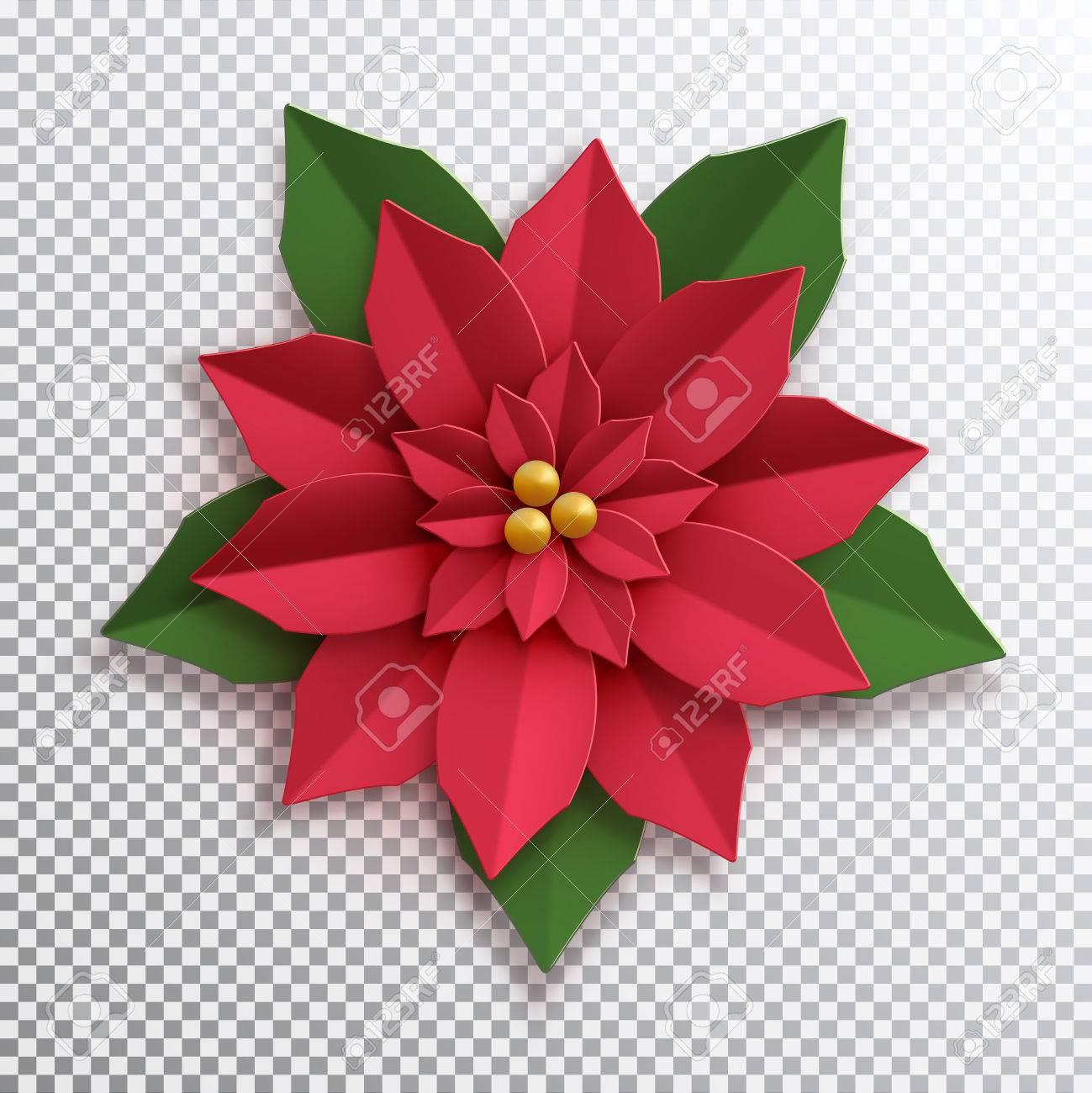Christmas Star Paper Poinsettia Red Flower Vector Illustration