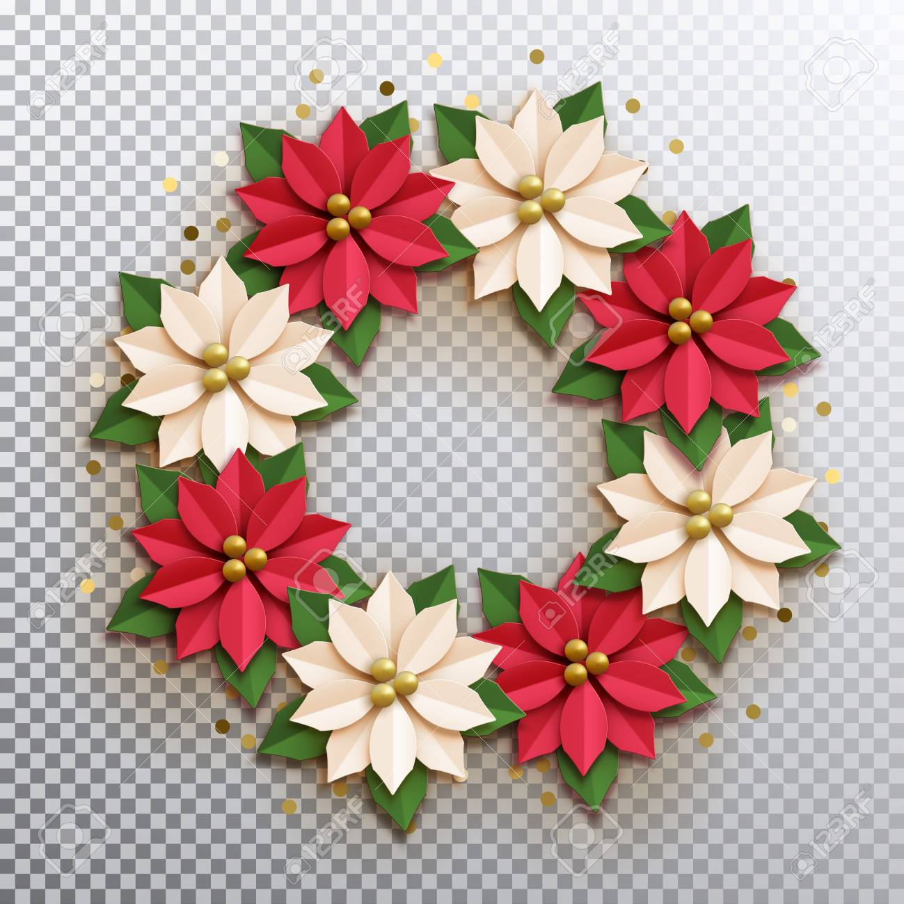 Christmas Star Paper Poinsettia Red And White Flowers Wreath