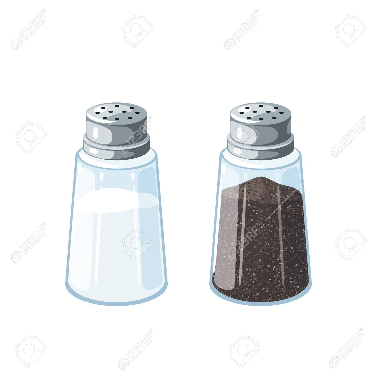 Salt and pepper. Pair of transparent glass shaker with metal cap. Vector illustration cartoon flat icon isolated on white. - 83383270