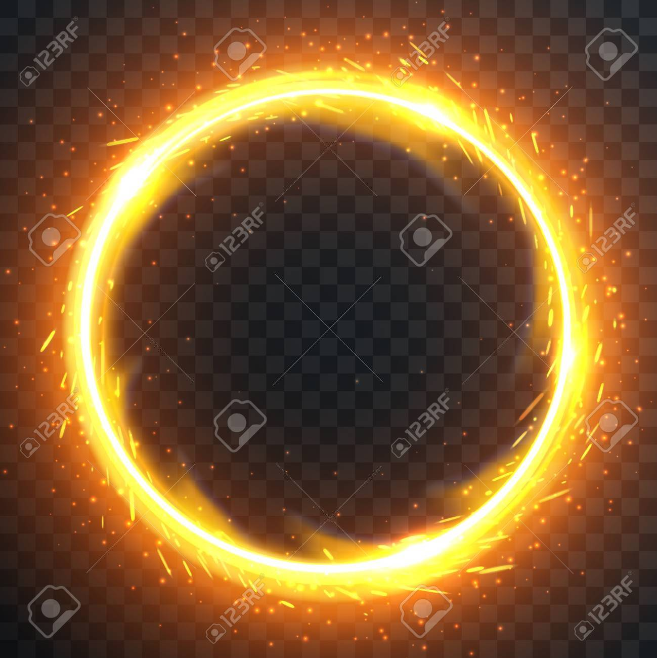 realistic round light fire flame frame vector template illustration