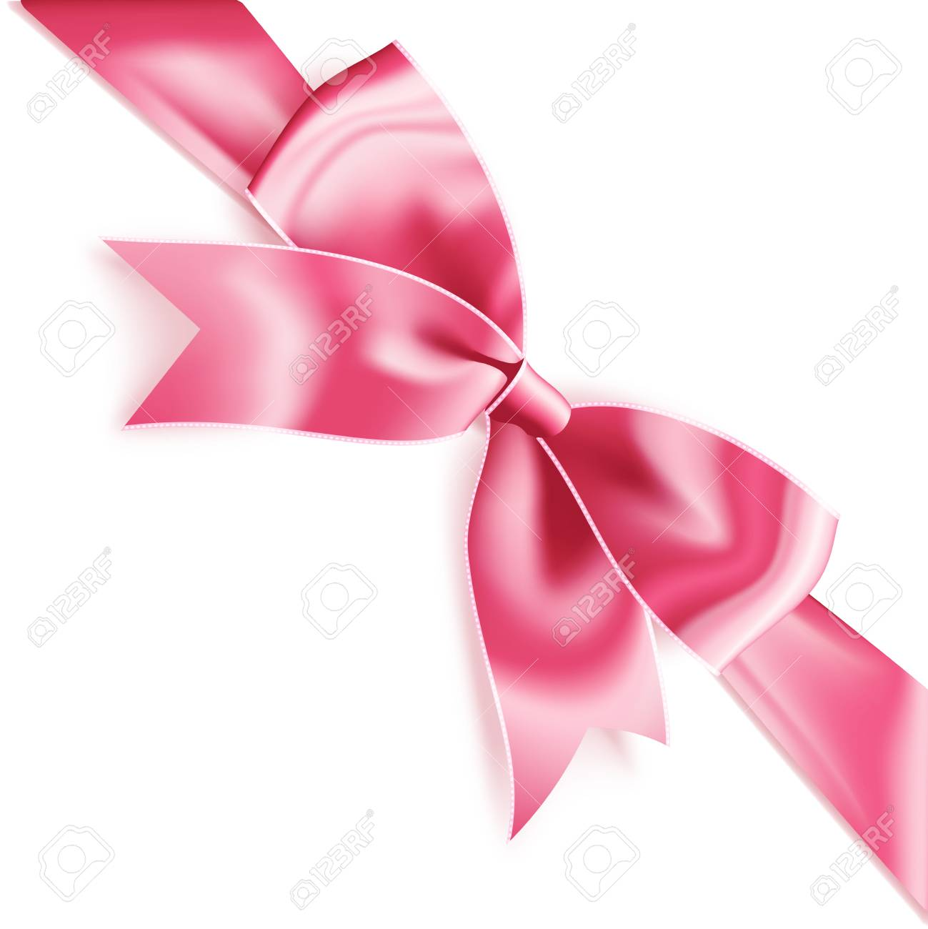 Realistic satin pink bow knot on ribbon. Vector illustration icon isolated  on white. Stock 542c2d8cc91