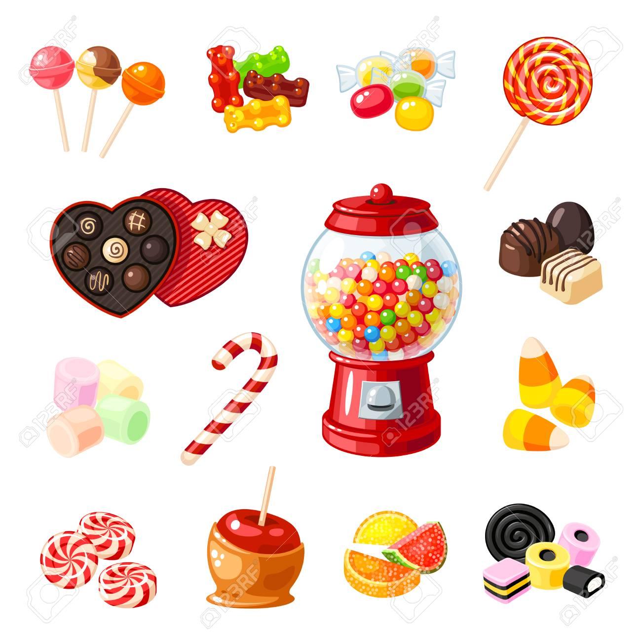 Set Single Cartoon Candies: Lollipop, Candy Cane, Bonbon ...